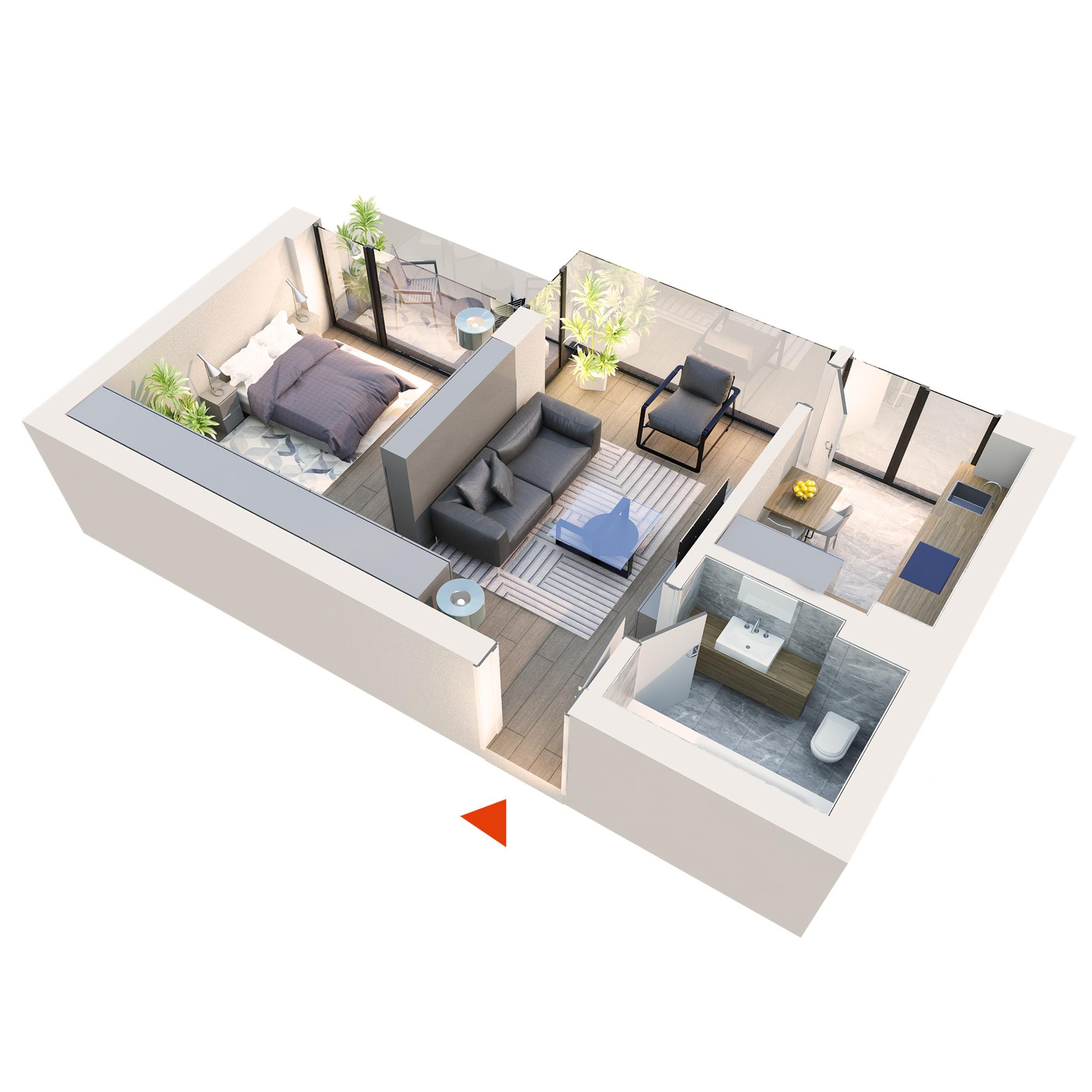 Apartament Studio tip 1B1 | Logie | Etaj 1 – 3 | Corp C1 C2 C5 C6 | Faza 2