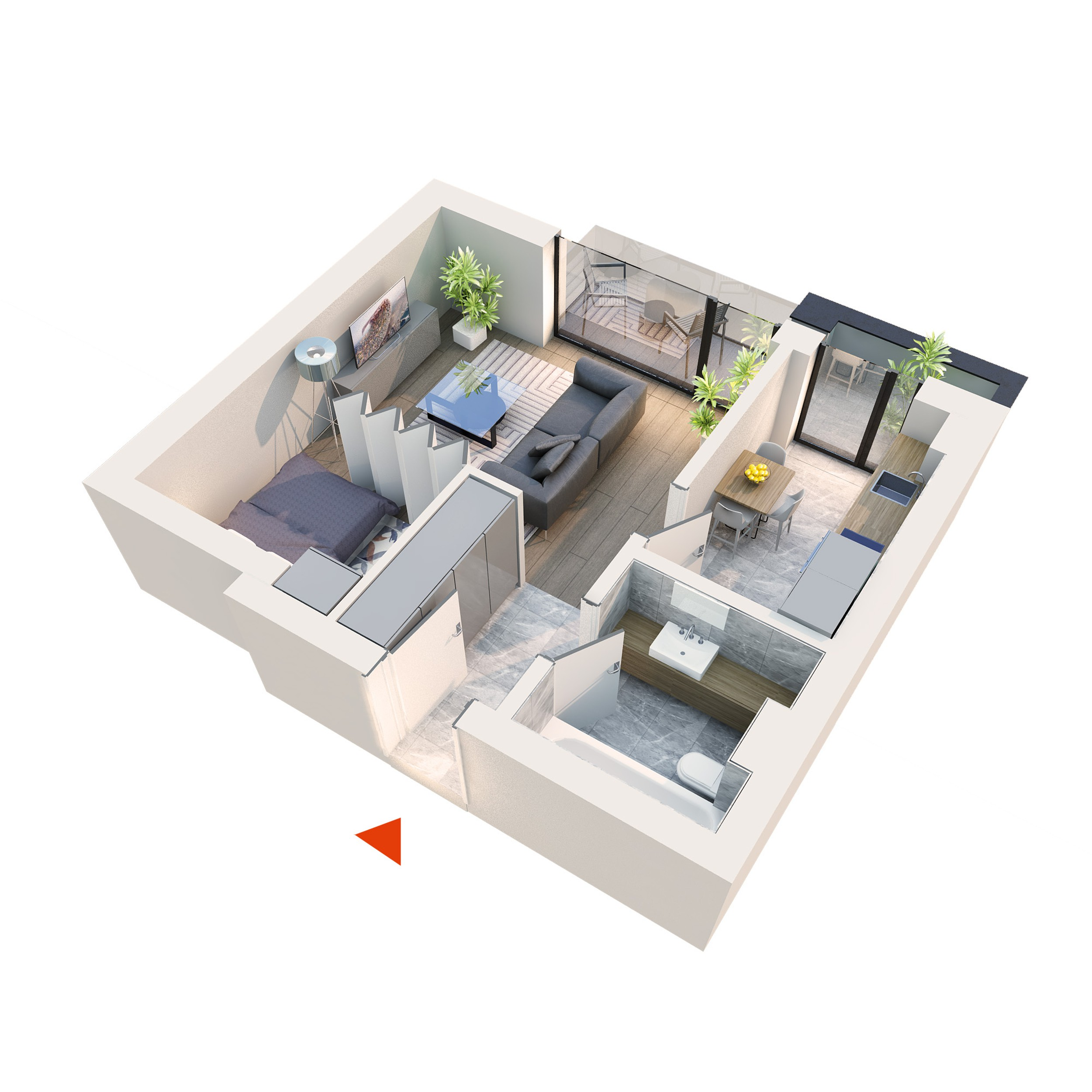 Apartament Studio tip 1C2 | Balcon | Etaj 4 | Corp C3 C4 | Faza 2