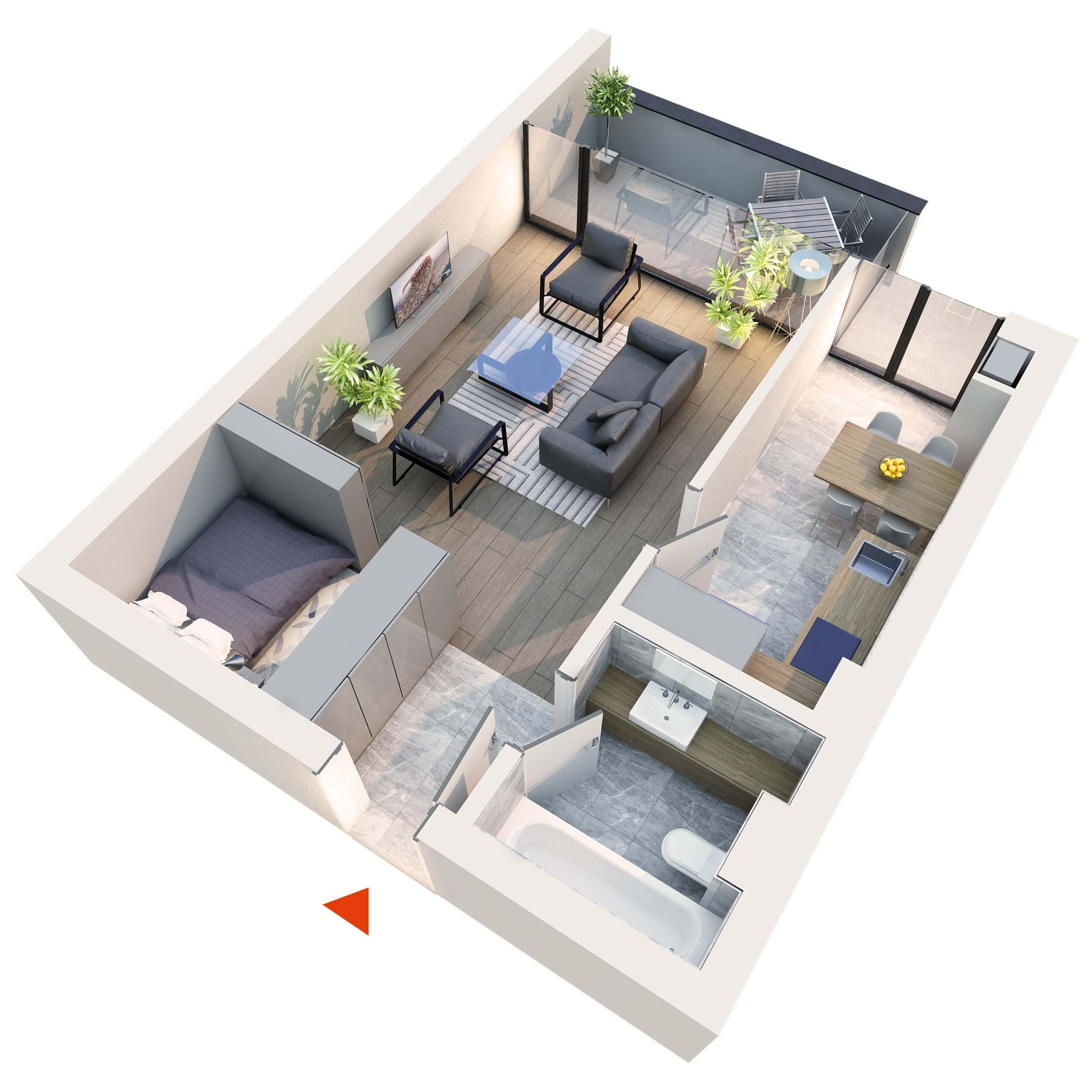 Apartament Studio tip 1D1′ | Balcon | Etaj 1 – 4 | Corp C7 | Faza 2