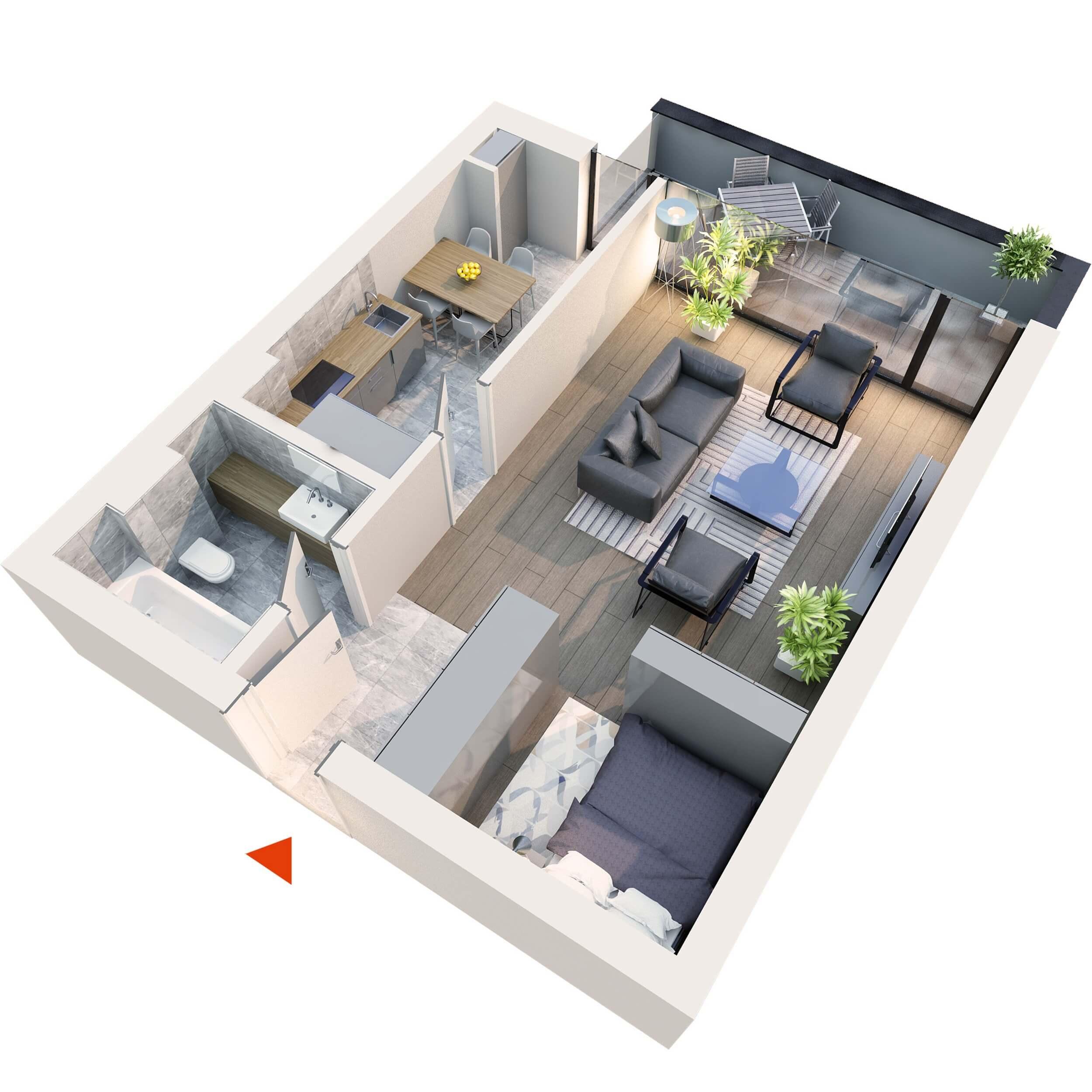 "Apartament Studio tip 1D1"" | Balcon | Etaj 6 | Corp C7 | Faza 2"