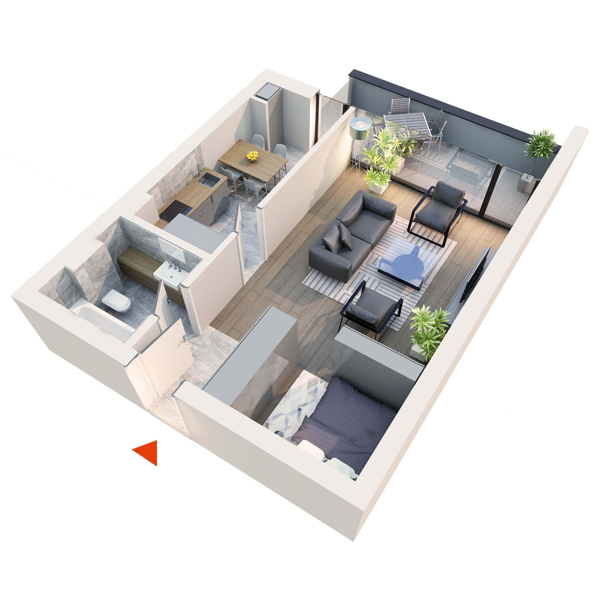 Apartament Studio tip 1D1 | Balcon | Etaj 1 – 5 | Corp C7 | Faza 2
