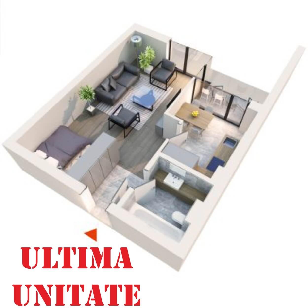Apartament Studio tip 1E1′ | Balcon | Etaj 6 | Corp C7 C8 | Faza 2