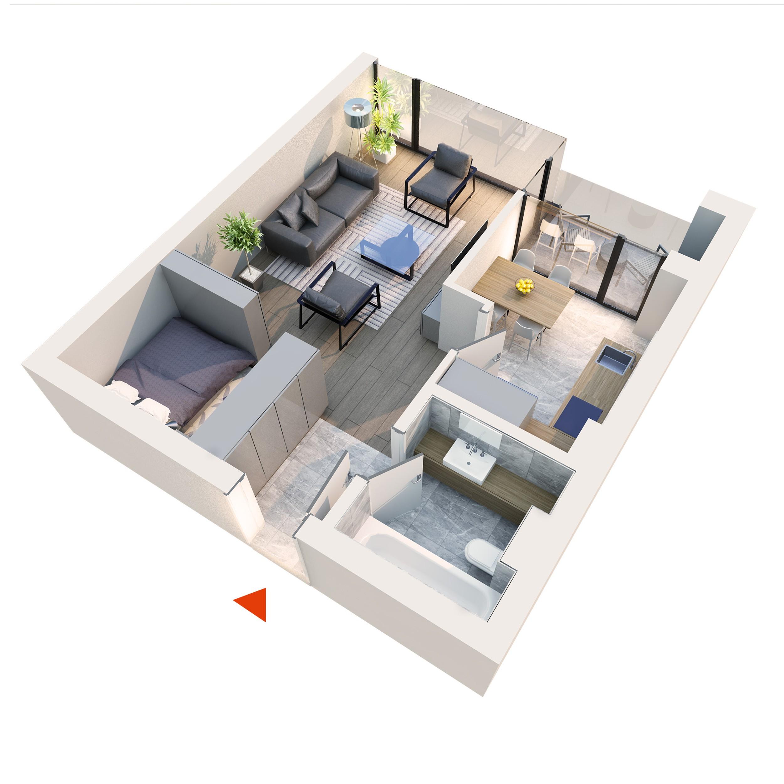 Apartament Studio tip 1E1 | Balcon | Etaj 5 | Corp C7 C8 | Faza 2