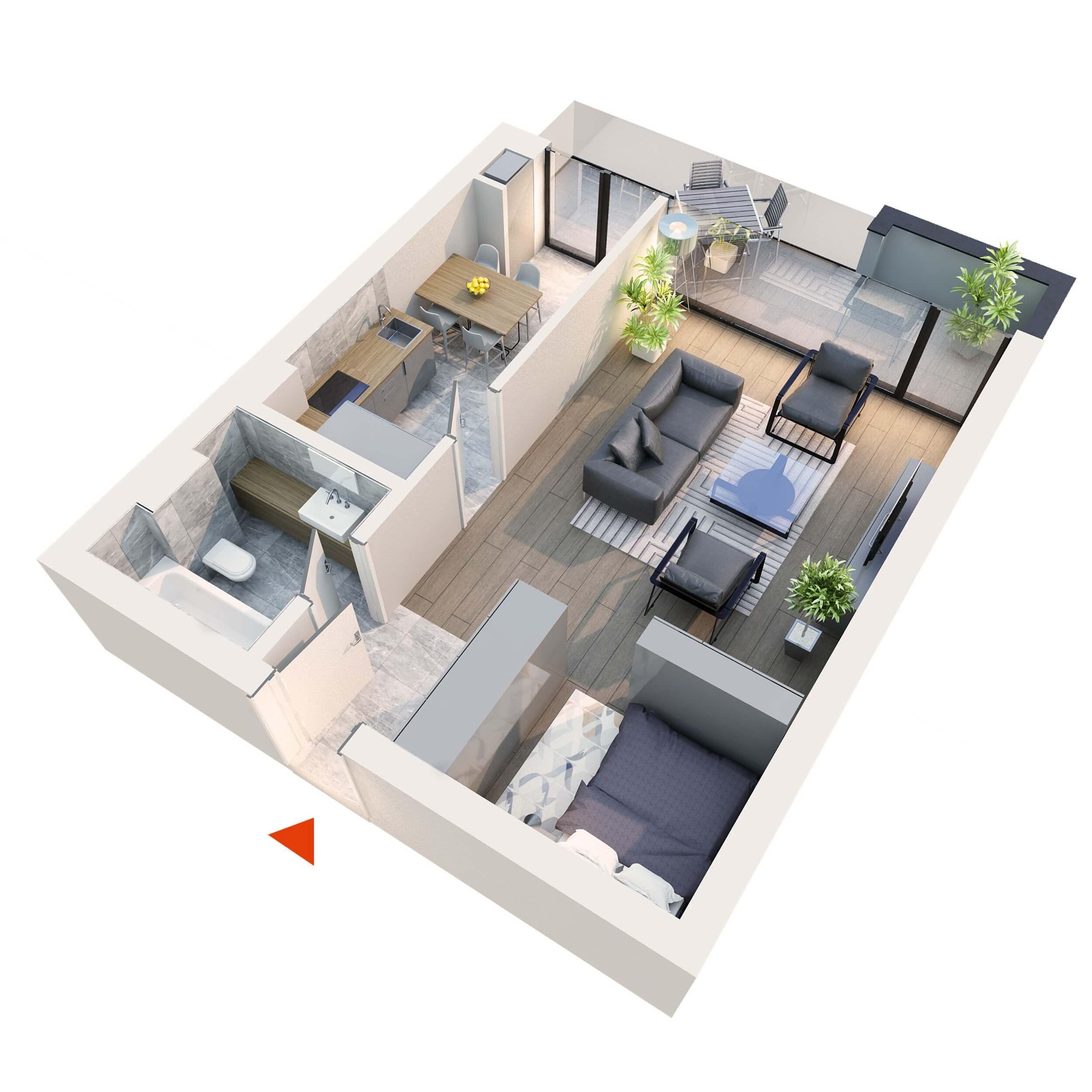 Apartament Studio tip 1F1´ | Balcon | Etaj 6 | Corp C7 C8 | Faza 2
