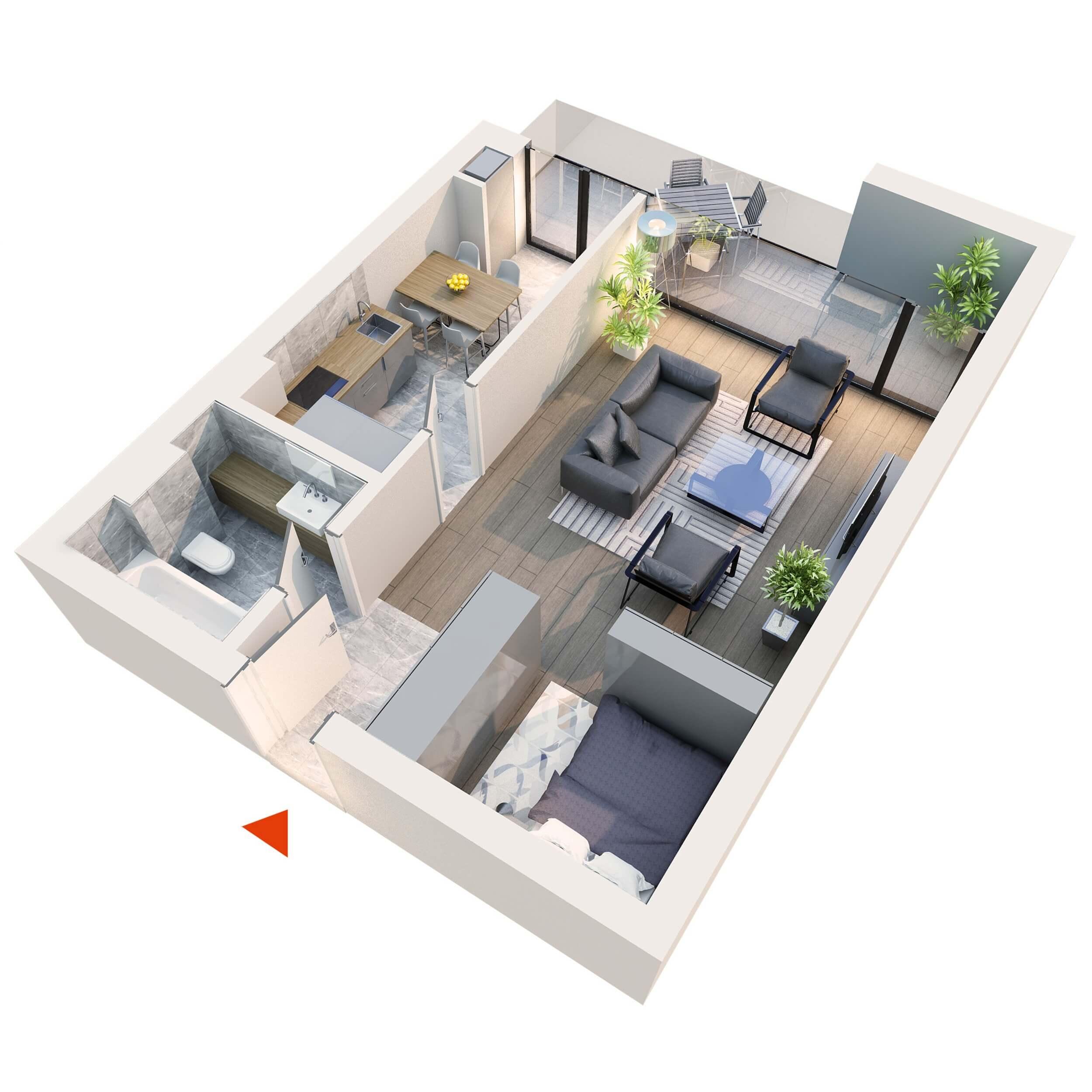 Apartament Garsoniera Studio tip 1F1 | Balcon | Etaj 1 – 5 | Corp C7 C8 | Faza 2