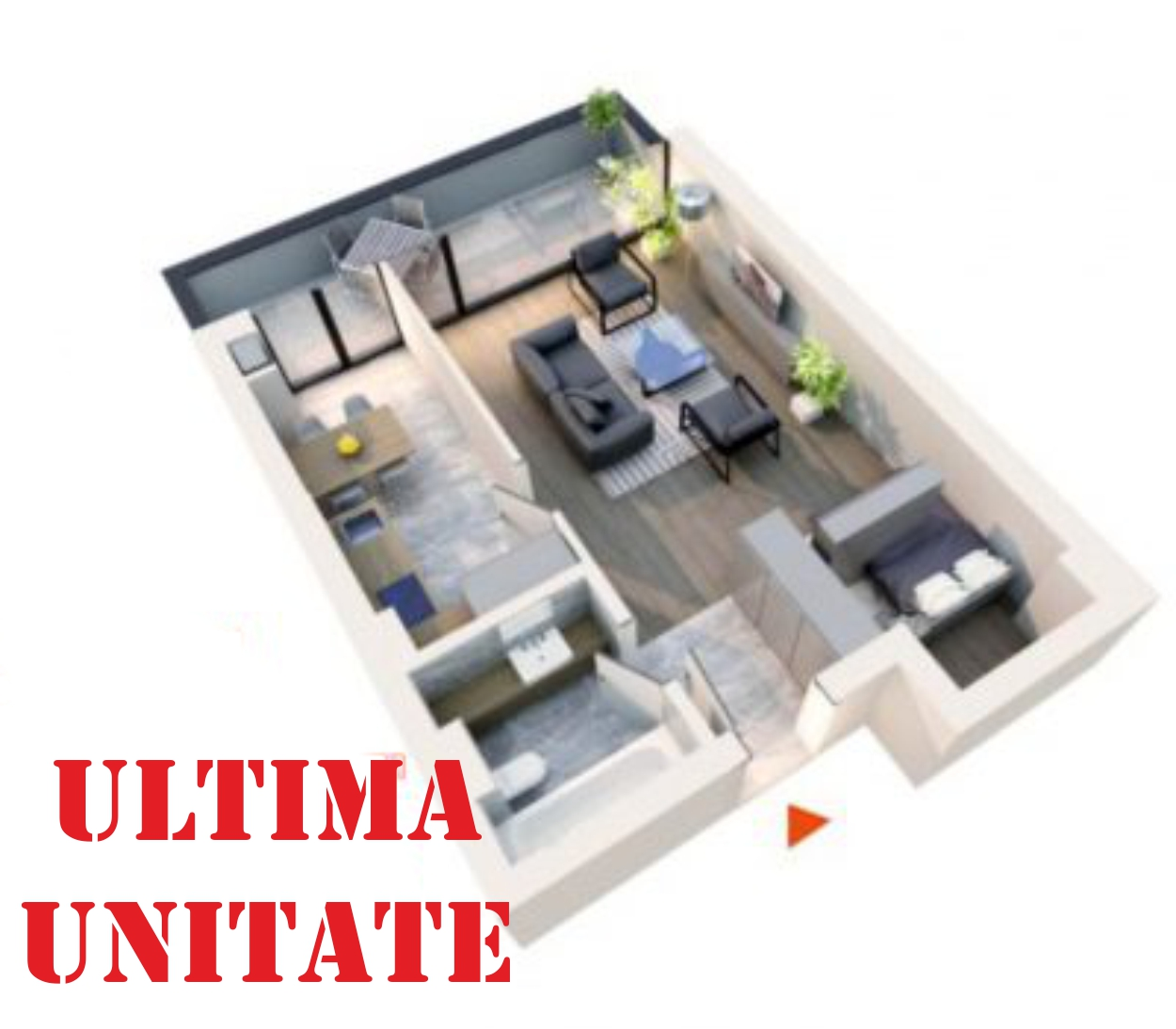Apartament Studio tip 1F2   Balcon   Etaj 6   Corp C7 C8   Faza 2