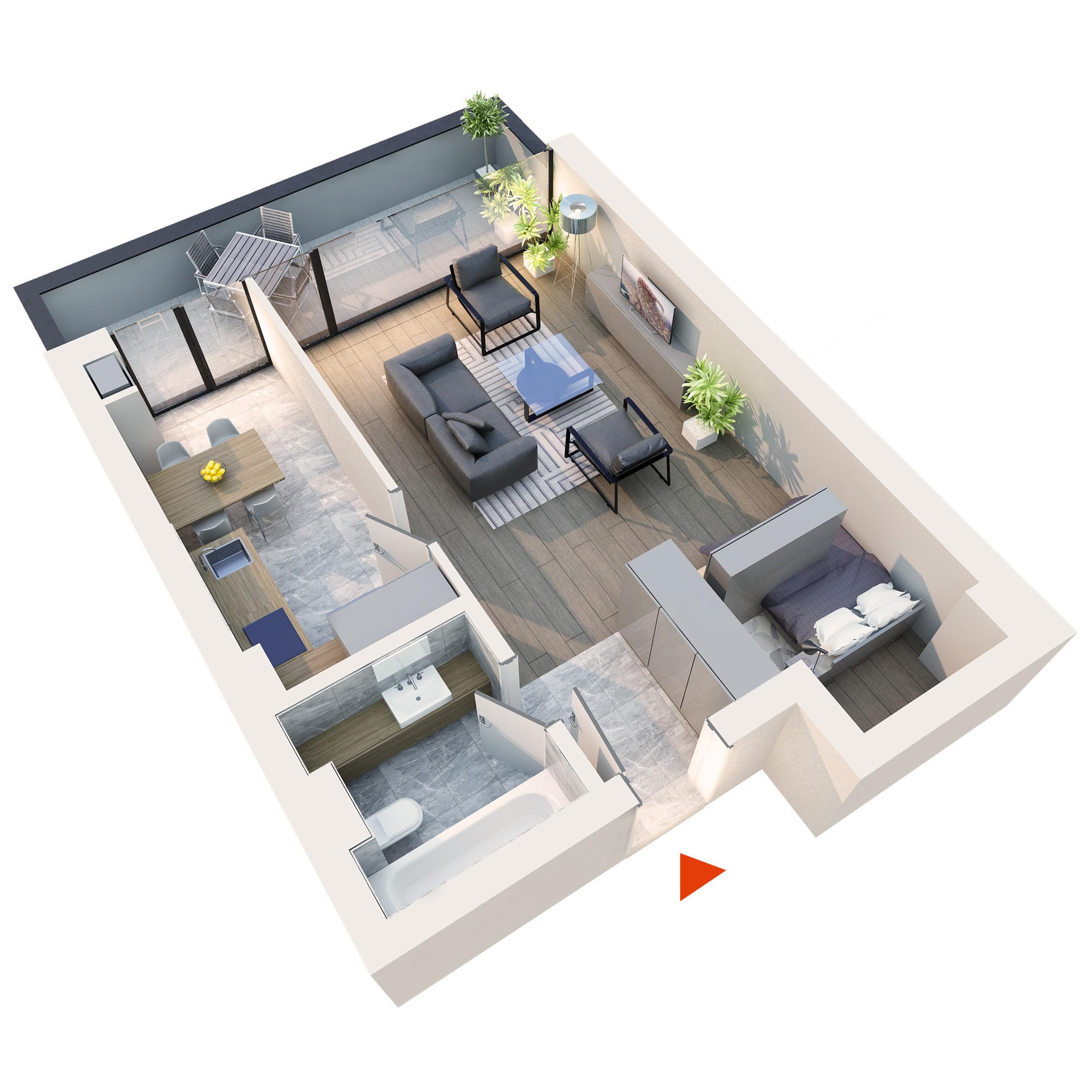 Apartament Studio tip 1F2 | Balcon | Etaj 6 | Corp C7 C8 | Faza 2
