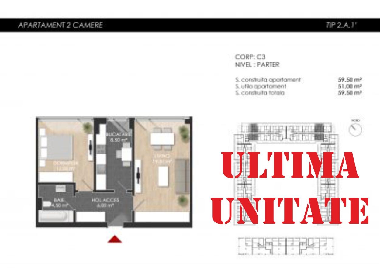 Apartament 2 camere tip 2A1′ cu vedere la curte interioara | Parter | Corp C3 și C4 | Faza 2