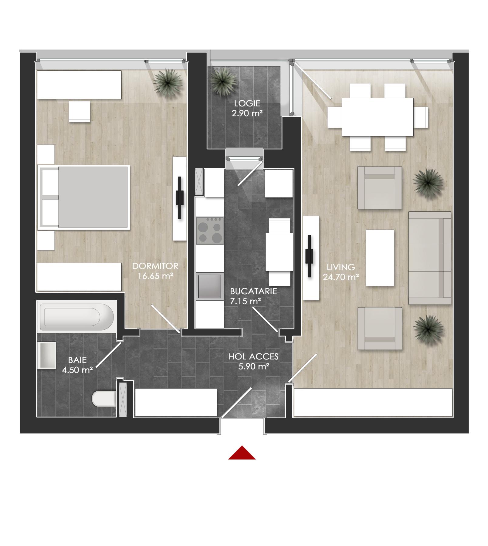 Apartament 2 camere tip 2A.2 logie | etaj 1-3 | Cladire 1A