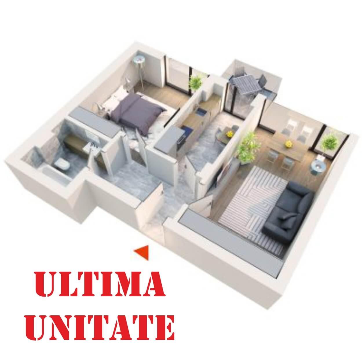 Apartament 2 camere tip 2B4 Balcon | Etaj 1-3 | Corp C1, C6 | Faza 2