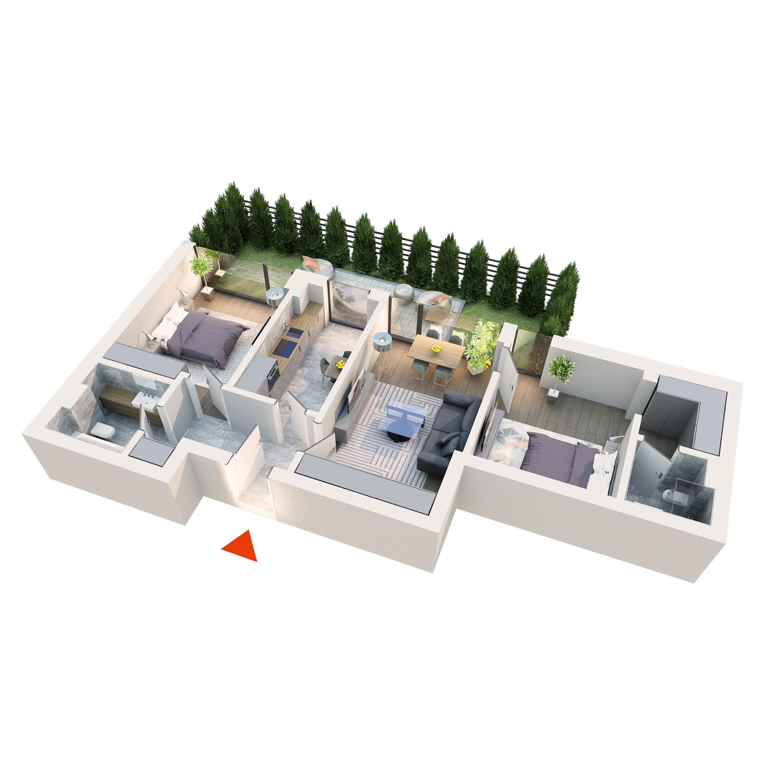 Apartament 3 camere tip 3A1 gradina | Parter | Corp C1 C2 C5 C6 | Faza 2