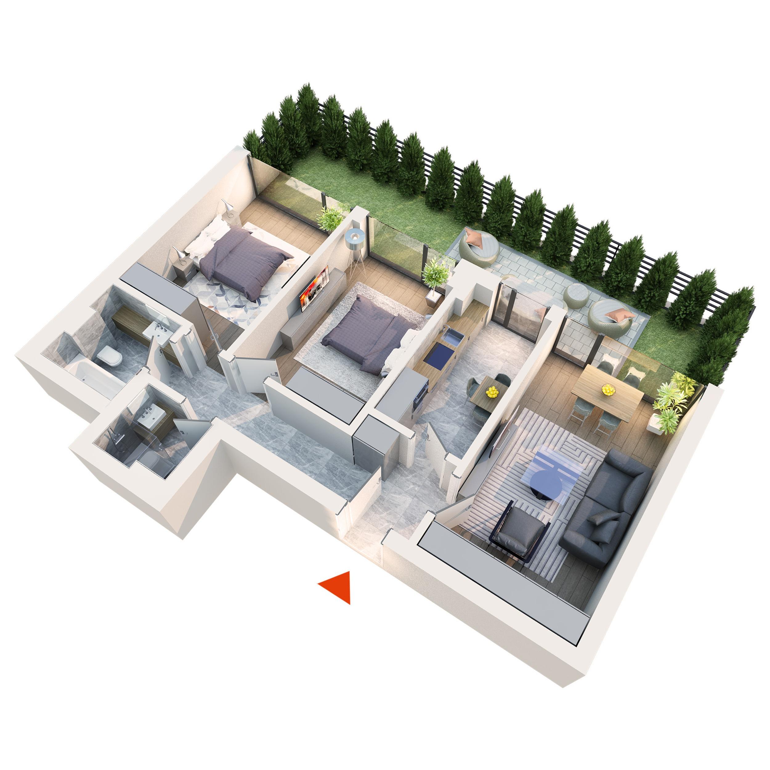 Apartament 3 camere tip 3A3 gradina | Parter | Corp C2 C5 | Faza 2