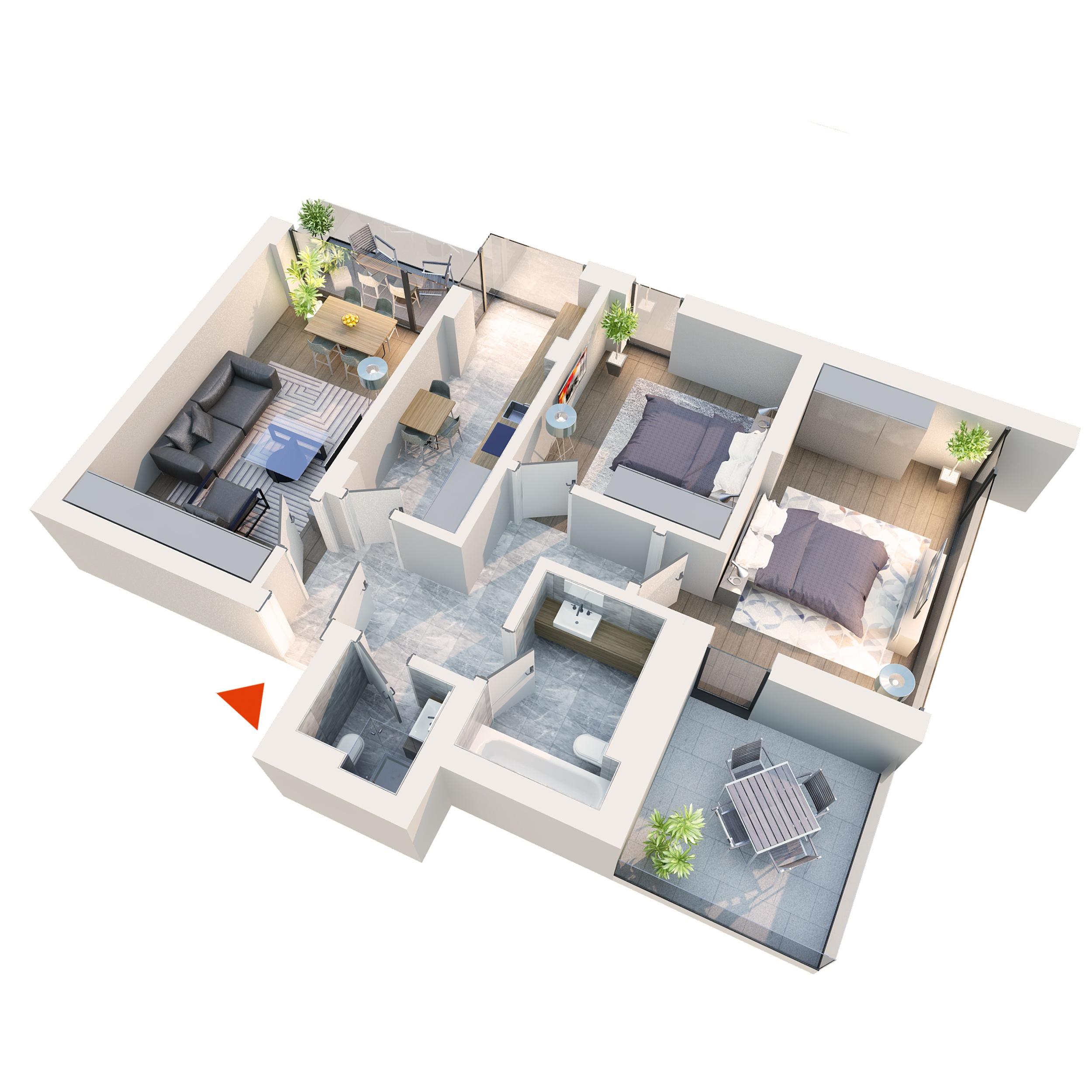 Apartament 3 camere tip 3B1 Balcon si Terasa | Etaj 1 – 3 | Corp C1 C6 | Faza 2