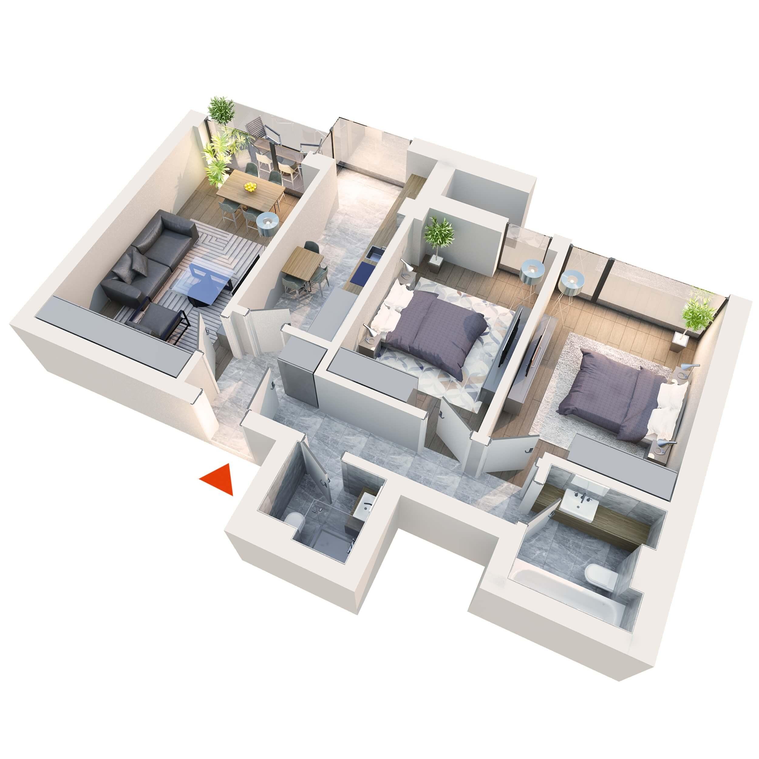 Apartament 3 camere tip 3B2 Balcon | Etaj 1 – 3 | Corp C2 C5 | Faza 2