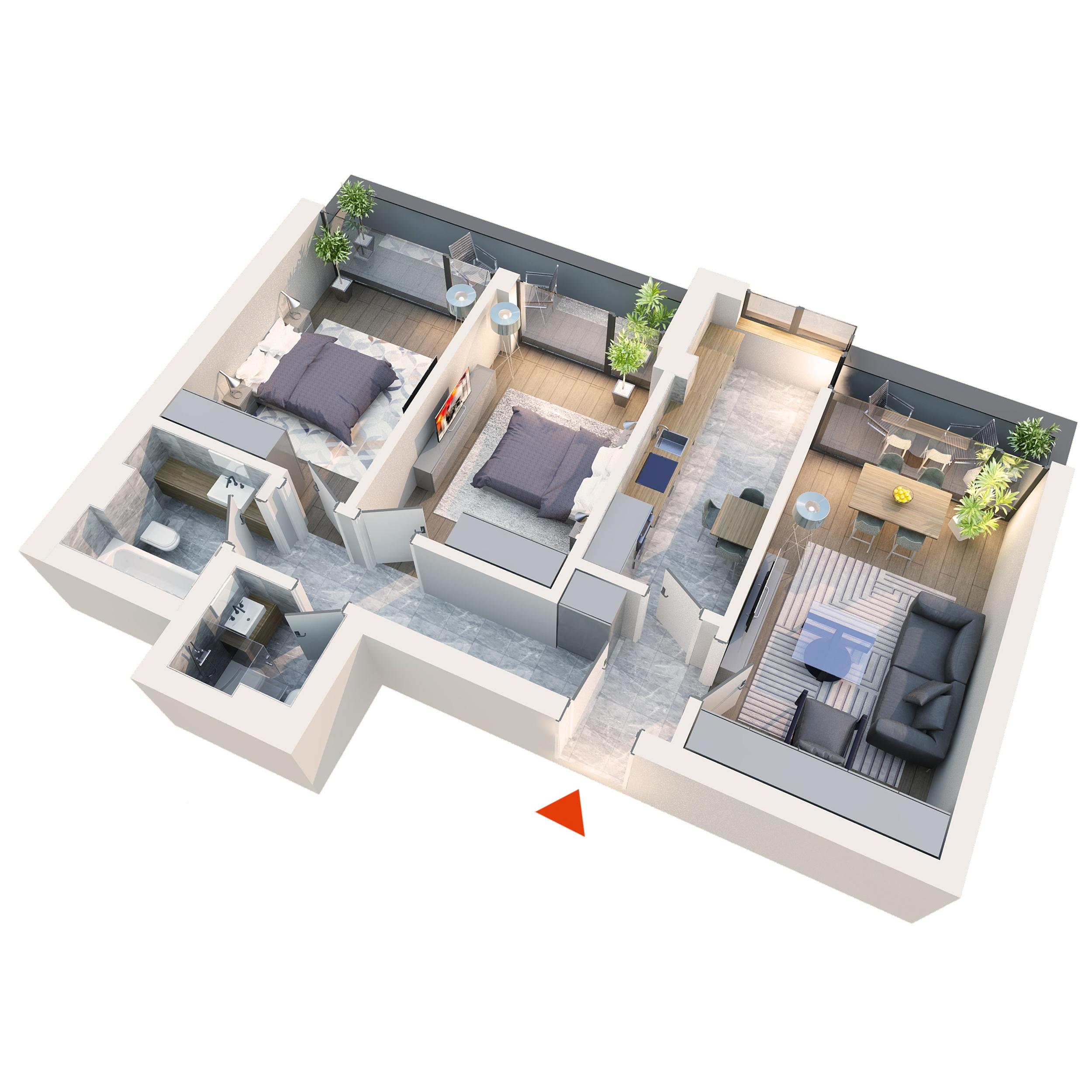 Apartament 3 camere tip 3B3 | 2 Balcoane | Etaj 1 – 3 | Corp C2 C5 | Faza 2