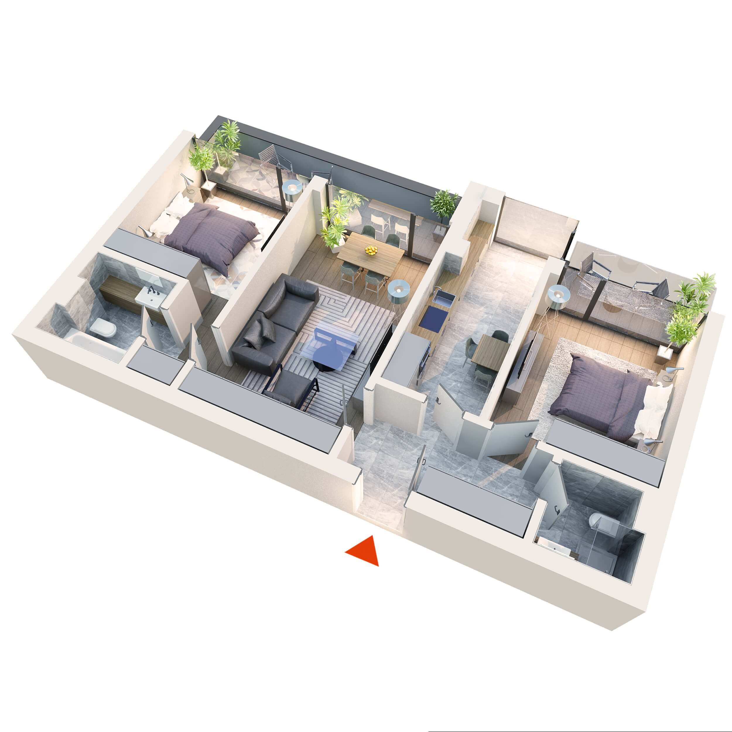 Apartament 3 camere tip 3B4 | 2 Balcoane | Etaj 1 – 3 | Corp C3 C4 | Faza 2