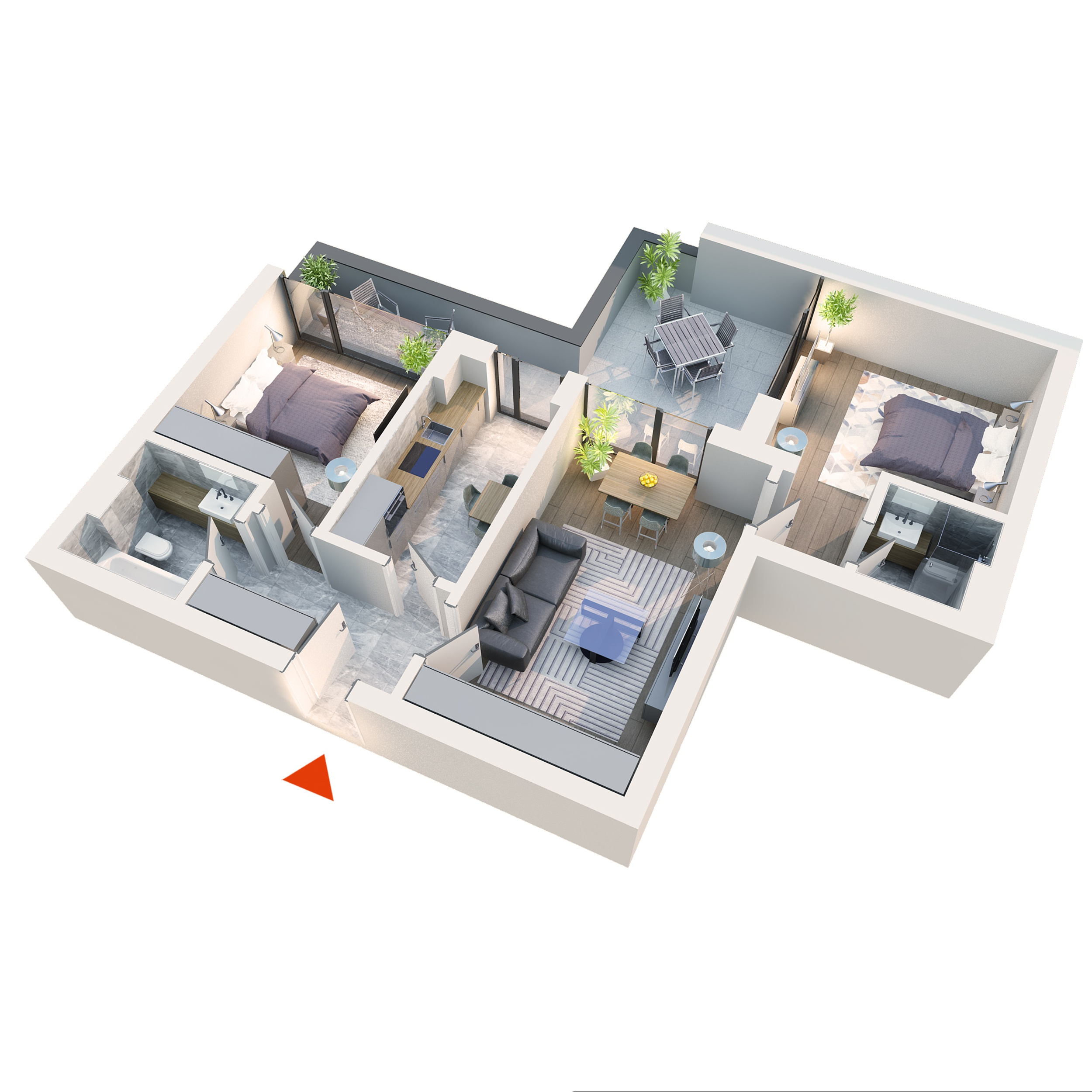 Apartament 3 camere tip 3B5 | Terasa | Etaj 1 – 4 | Corp C3 C4 | Faza 2