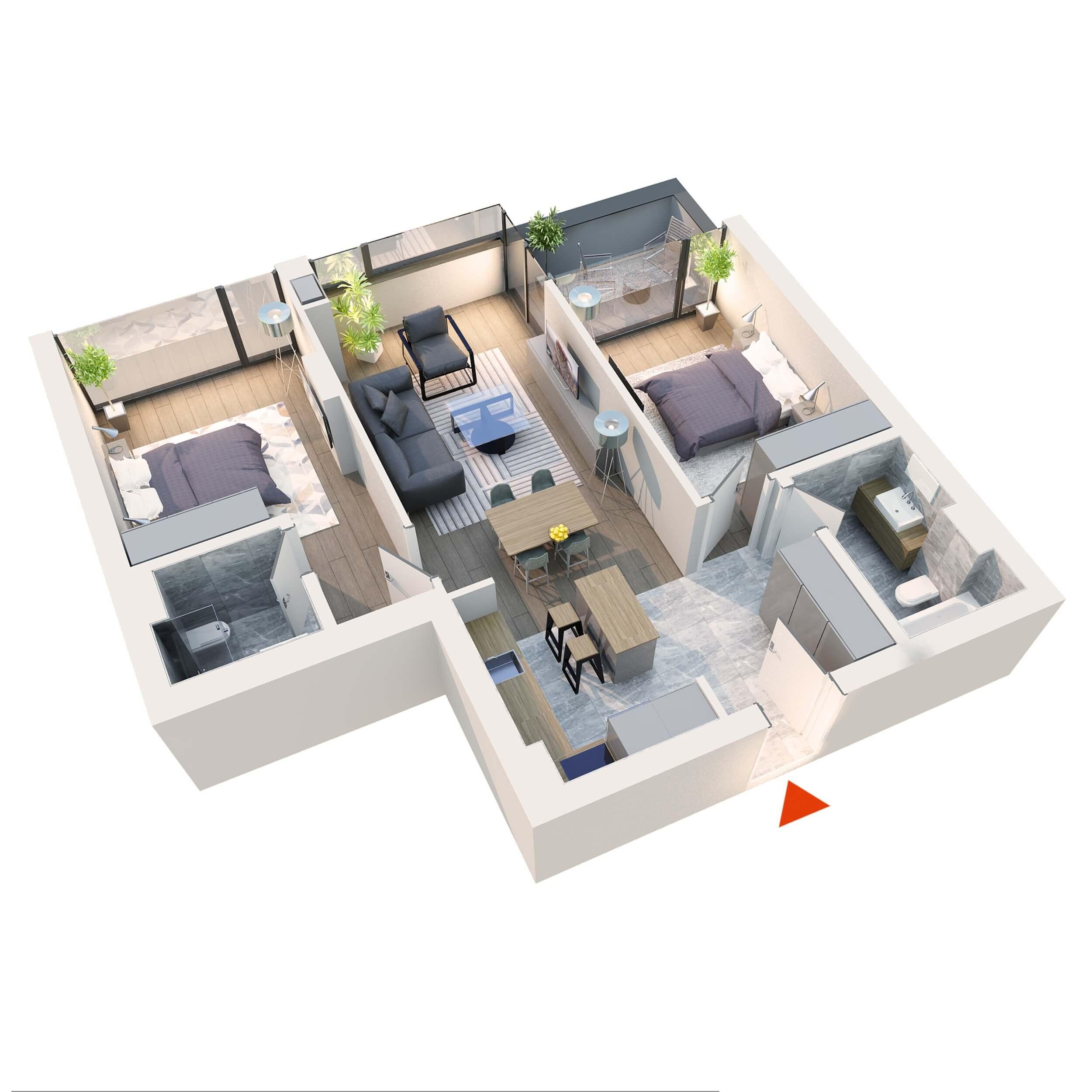 Apartament 3 camere tip 3D1 | Balcon | Etaj 1 – 5 | Corp C7 C8 | Faza 2
