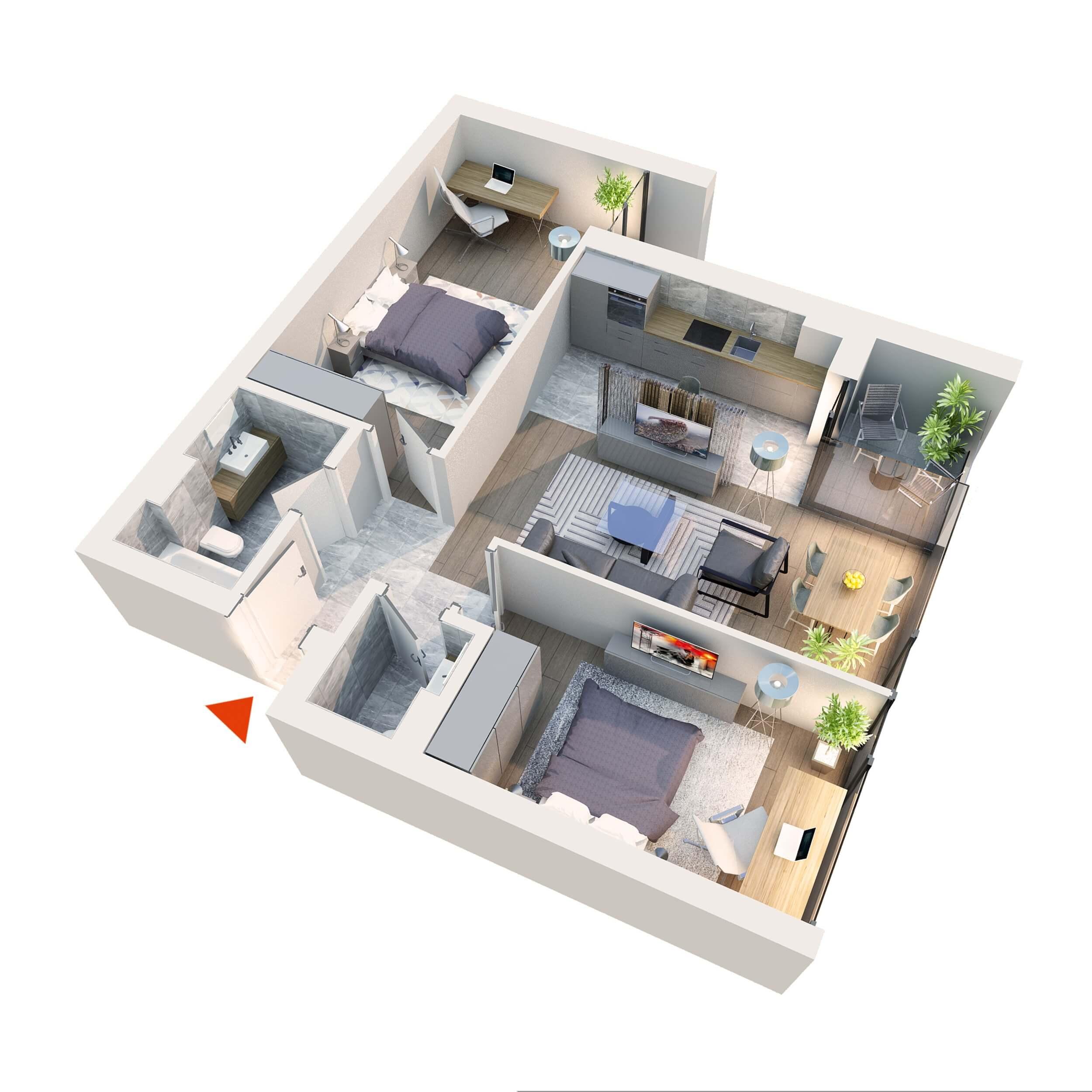 Apartament 3 camere tip 3D2 | Balcon | Etaj 1 – 3 | Corp C7 C8 | Faza 2