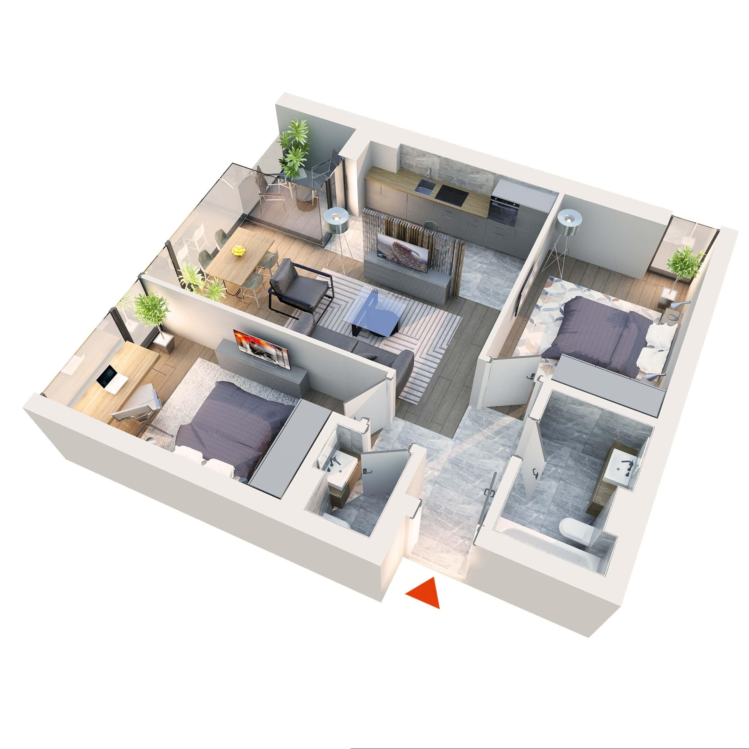 Apartament 3 camere tip 3D3 | Balcon | Etaj 1 – 6 | Corp C7 C8 | Faza 2