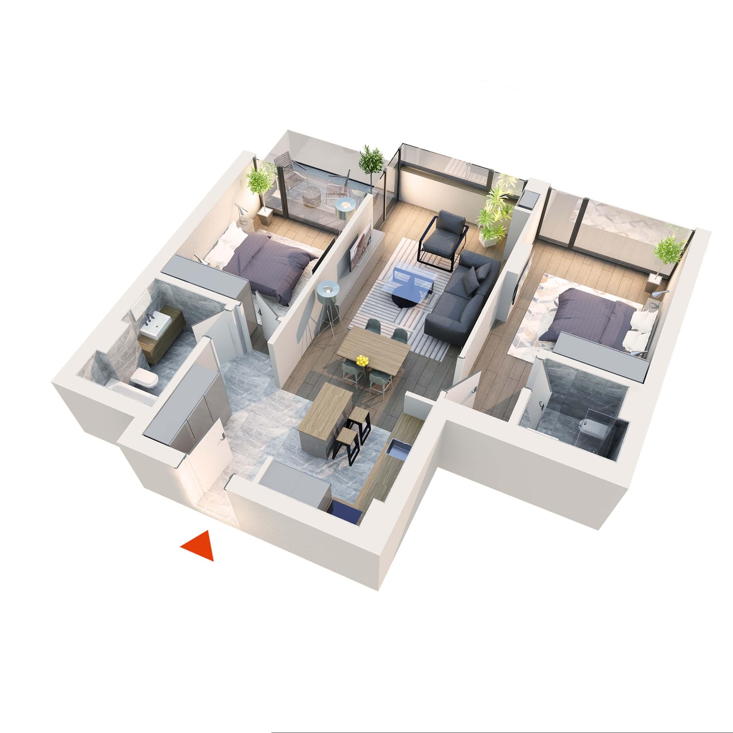 Apartament 3 camere tip 3D4 | Balcon | Etaj 1 – 5 | Corp C7 C8 | Faza 2