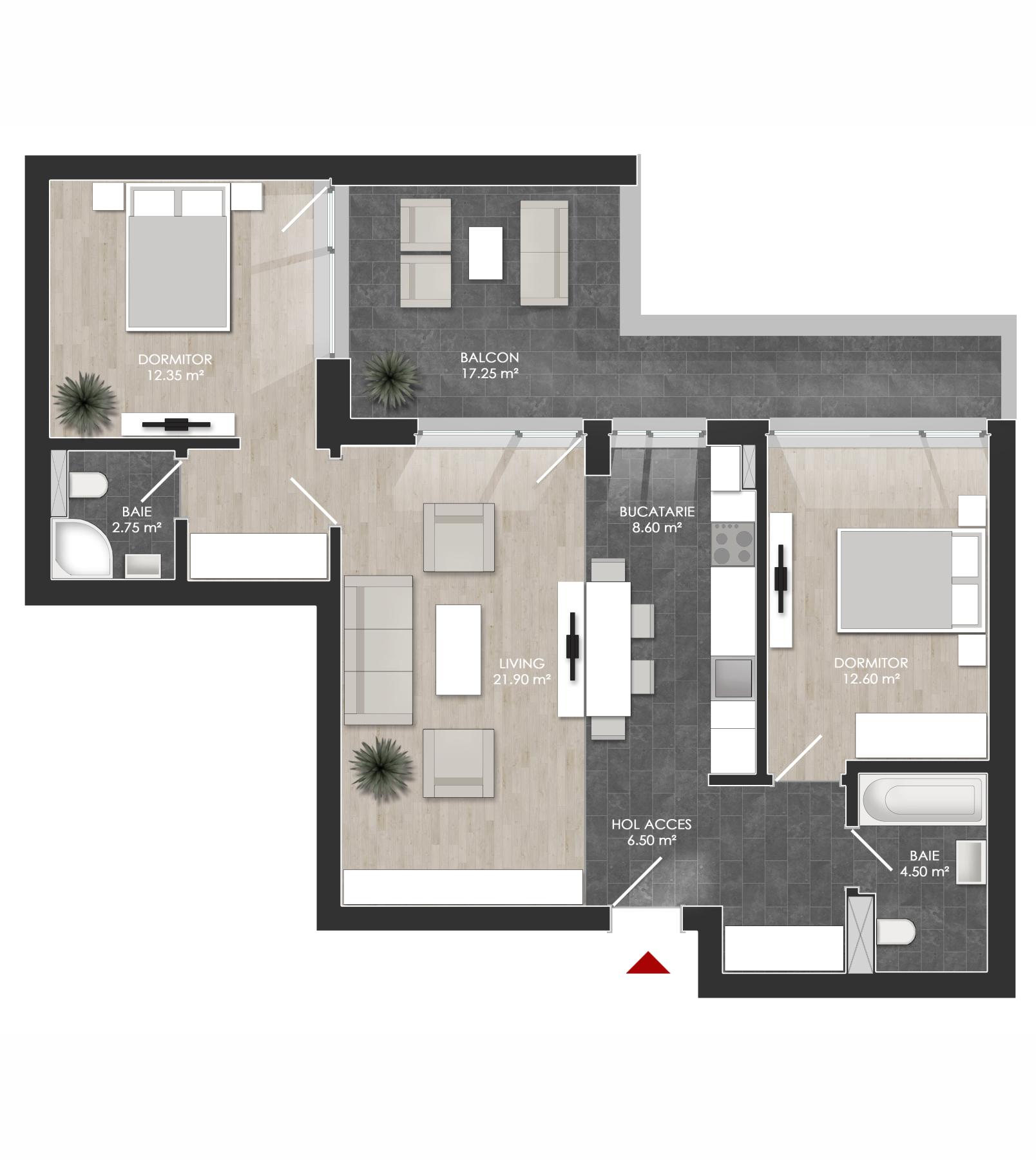Apartament 3 camere tip 3E balcon   etaj 4   Cladire 1