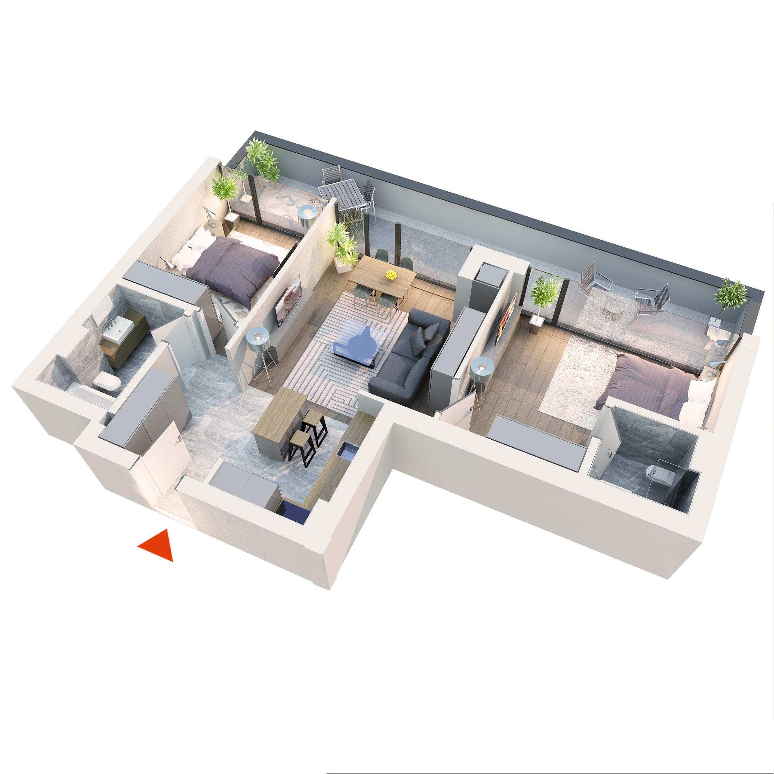 Apartament 3 camere tip 3E1 | Balcon | Etaj 6 | Corp C7 C8 | Faza 2