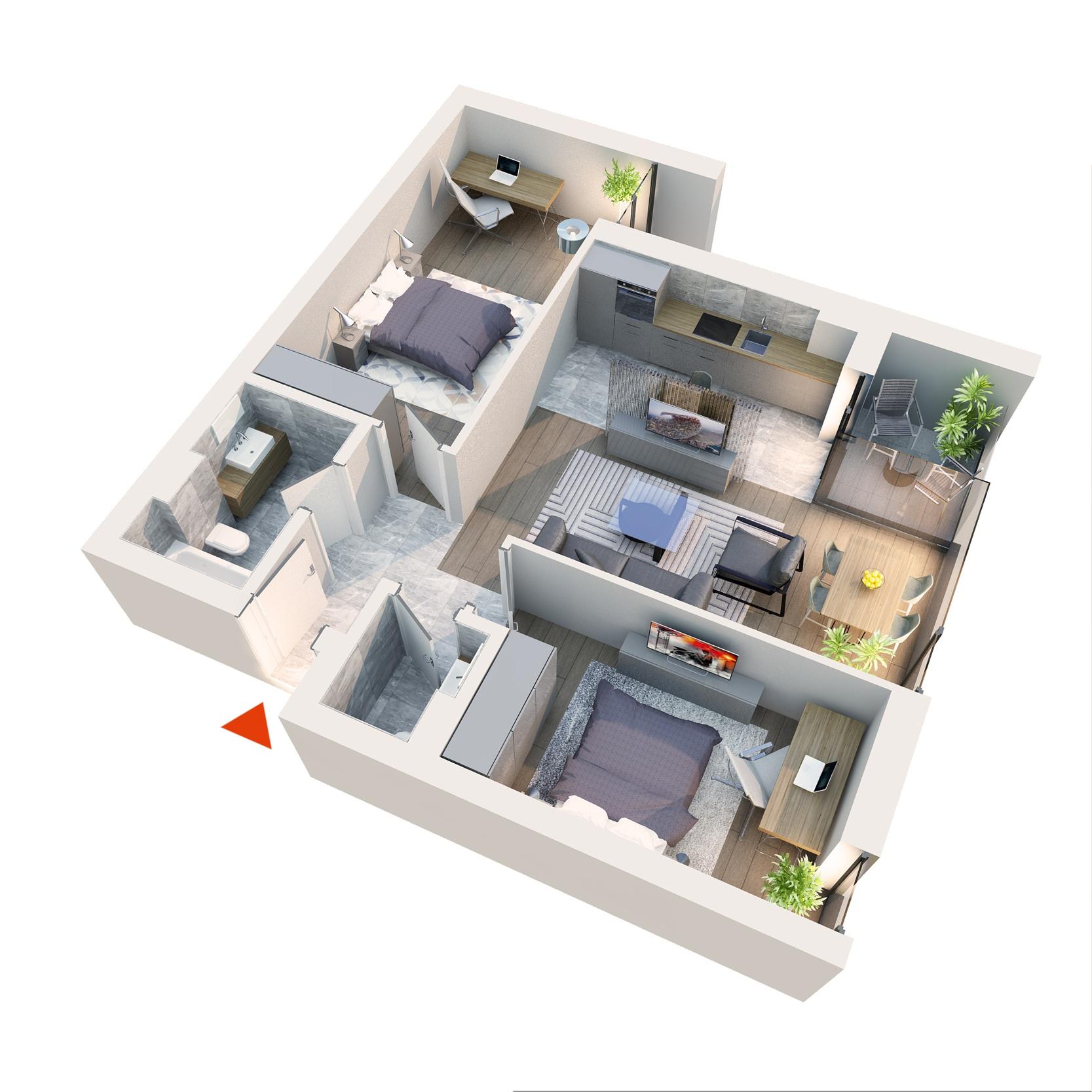 Apartament 3 camere tip 3E2 | Balcon | Etaj 4-5 | Corp C7 | Faza 2