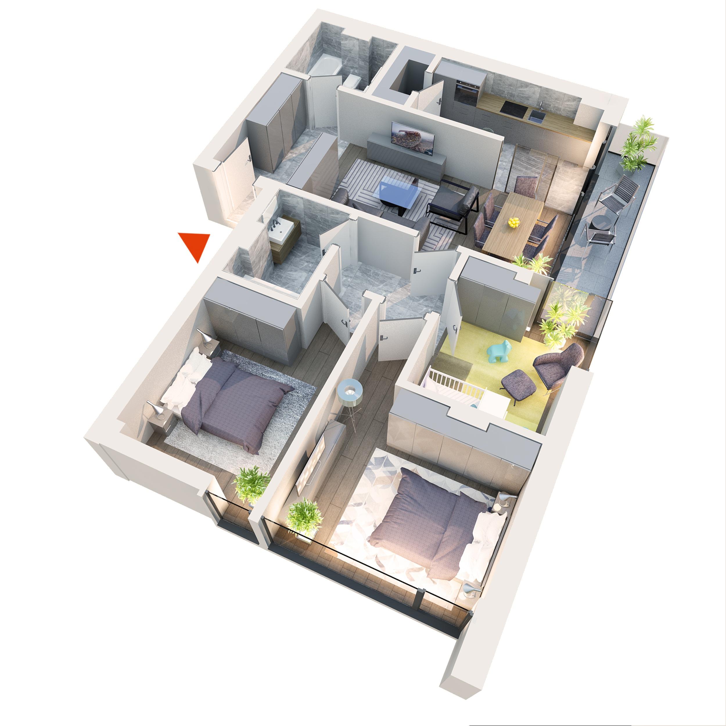 Apartament 4 camere tip 4B1 Logie | Etaj 1-3 | Corp C3, C4 | Faza 2