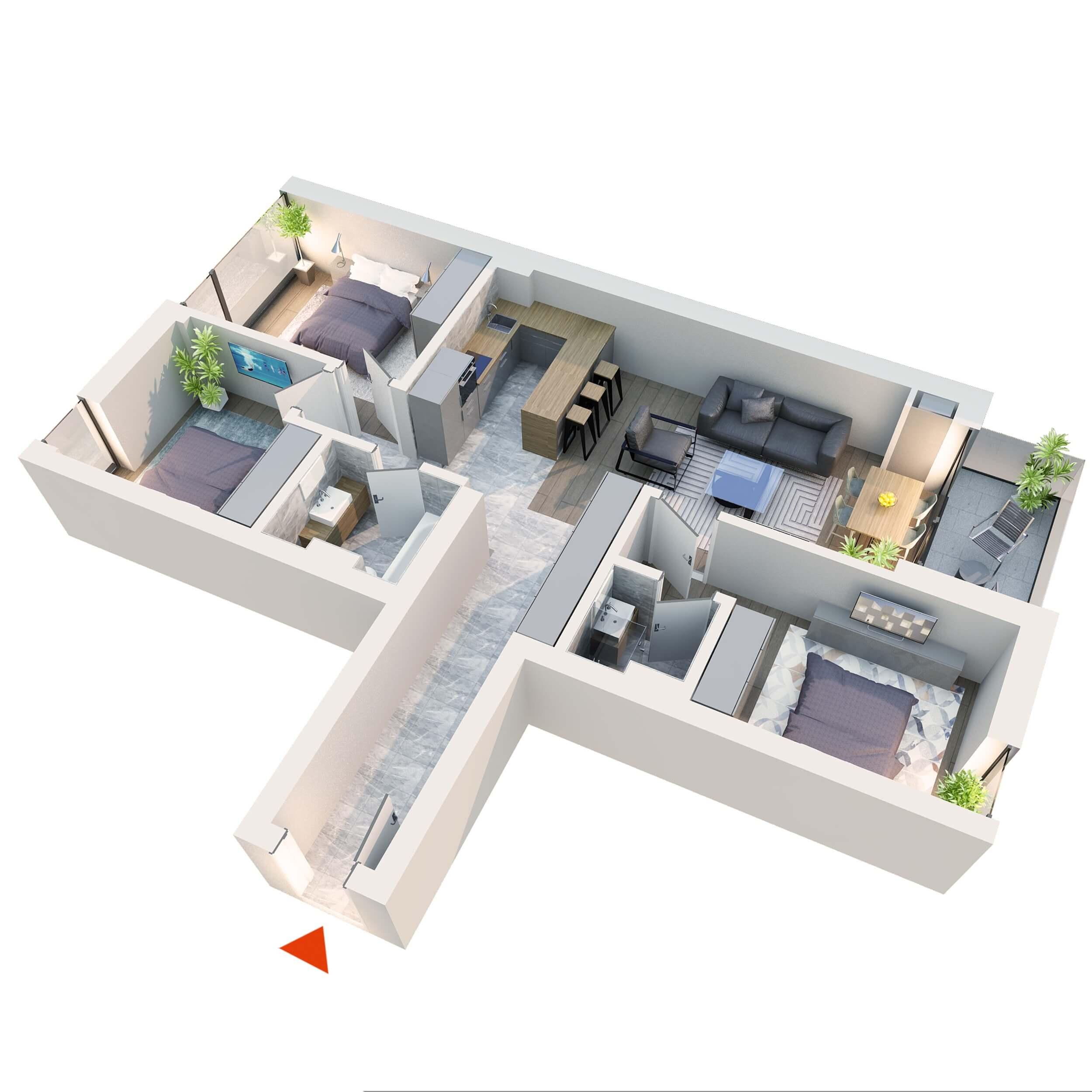 Apartament 4 camere tip 4B2 Logie | Etaj 1-4 | Corp C3, C4 | Faza 2