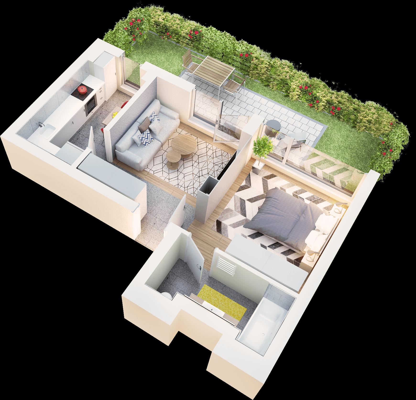 Studio tip 1 terasa si gradina proprie | parter | Cladire 1