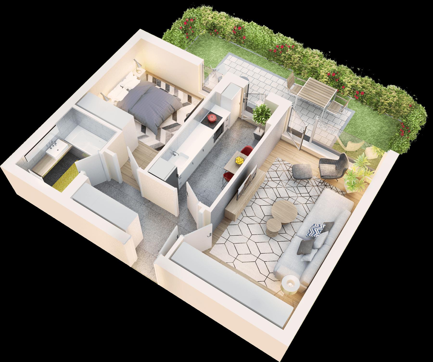 Apartament 2 camere tip 2A.1 terasa si gradina proprie   parter   Cladire 1A
