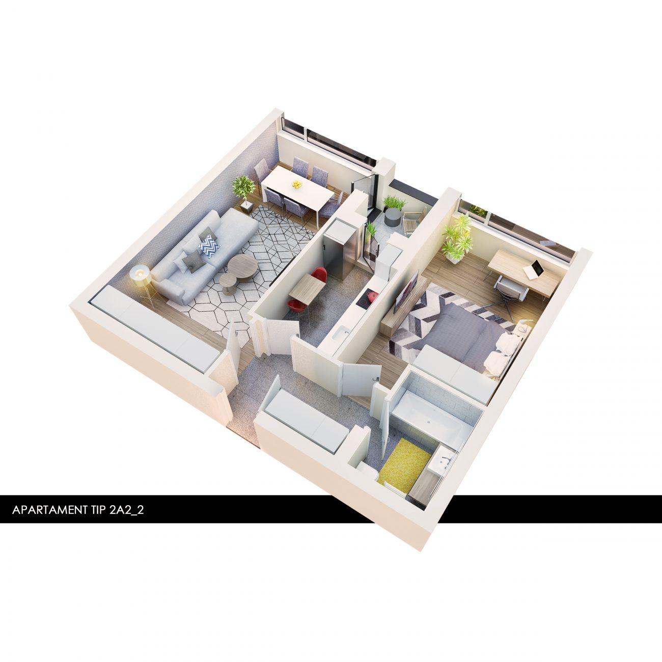 Apartament 2 camere finalizat Atria Urban Resort