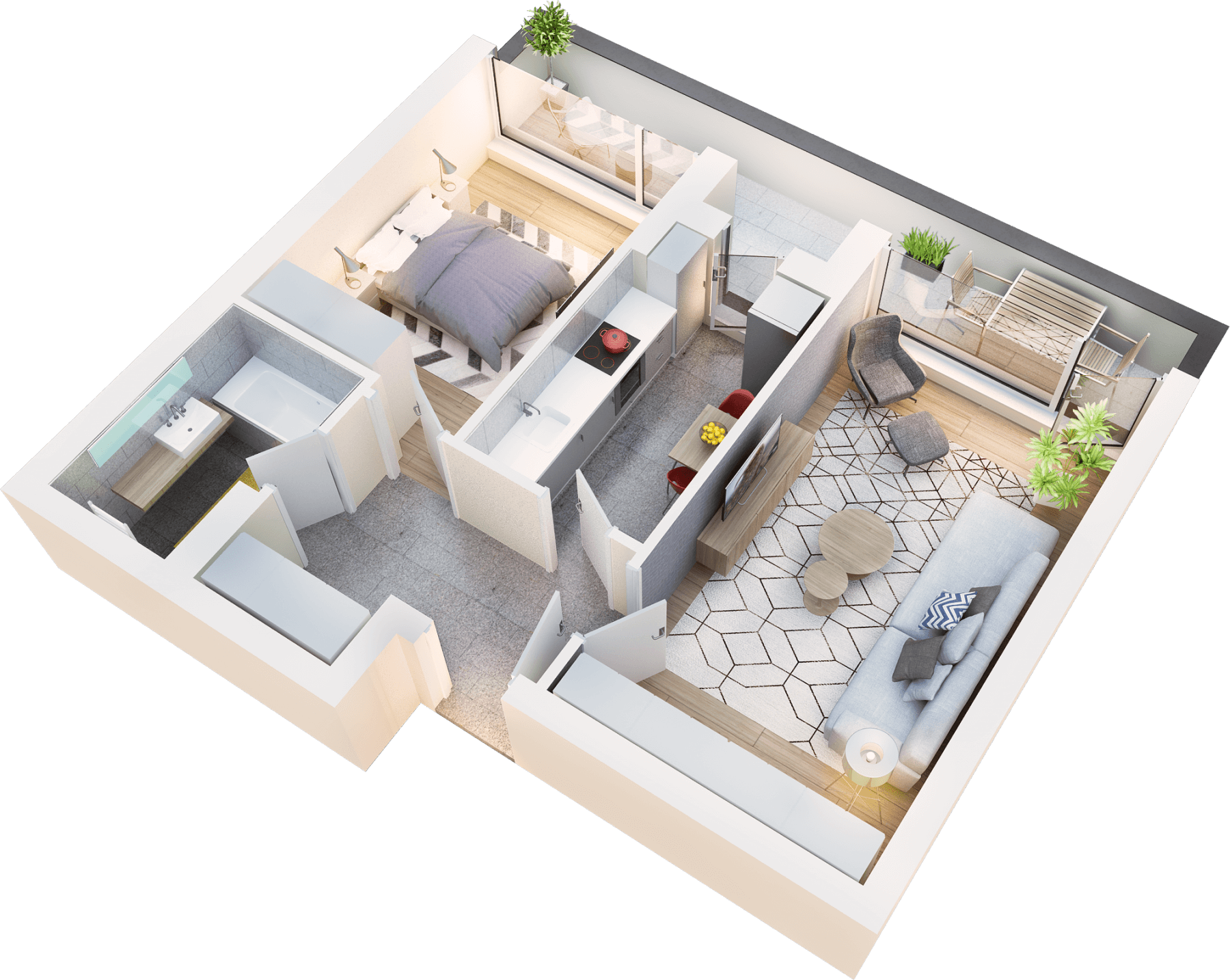 Apartament 2 camere tip 2C.3 balcon | etaj 4 | Cladire 1A | Faza 1