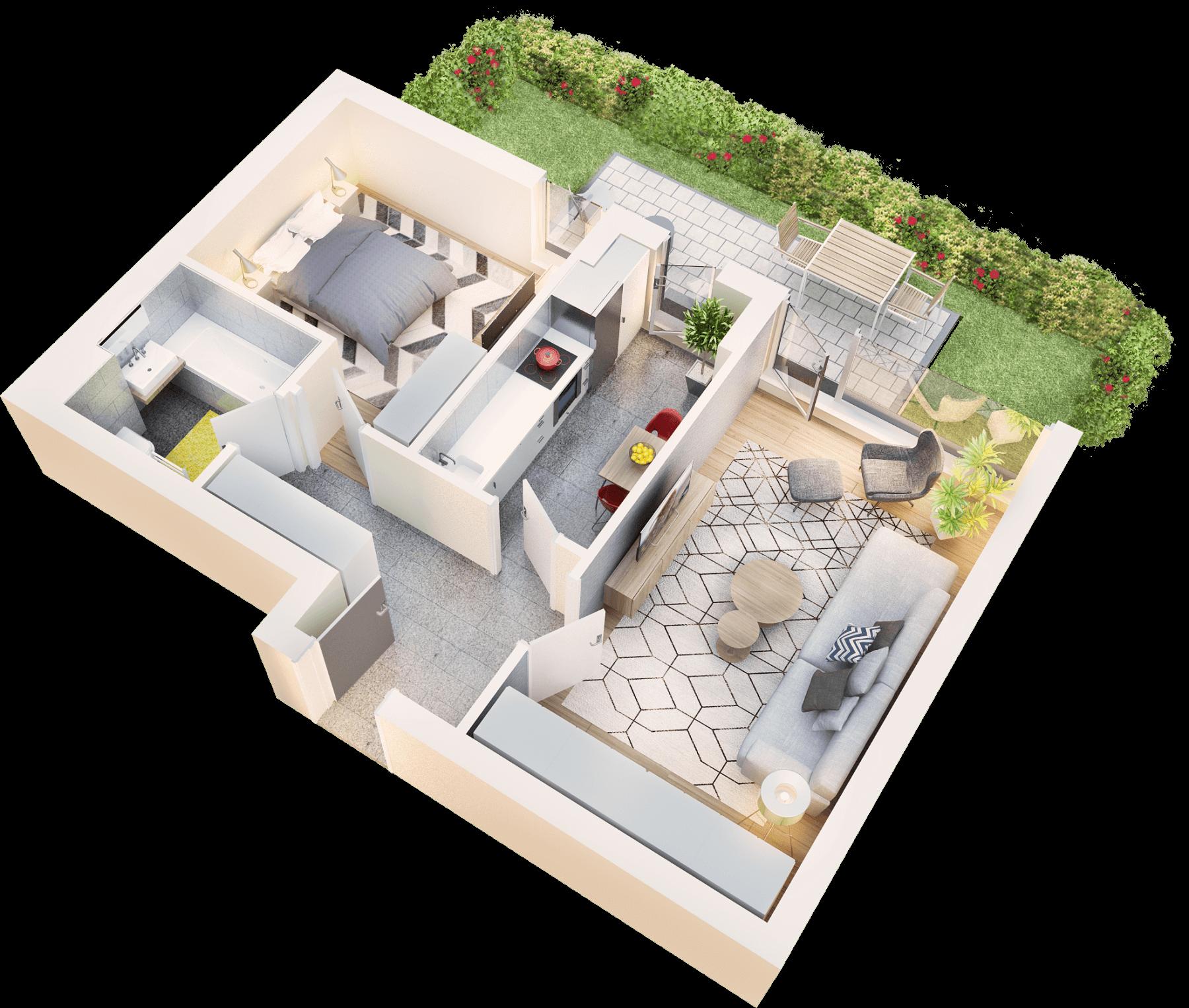 Apartament 2 camere tip 2D.1 terasa si gradina | parter | Cladire 1A