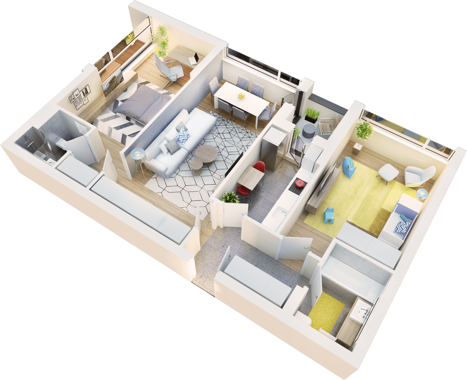 Apartament 3 camere tip 3A logie | etaj 1-3 | Cladire 1
