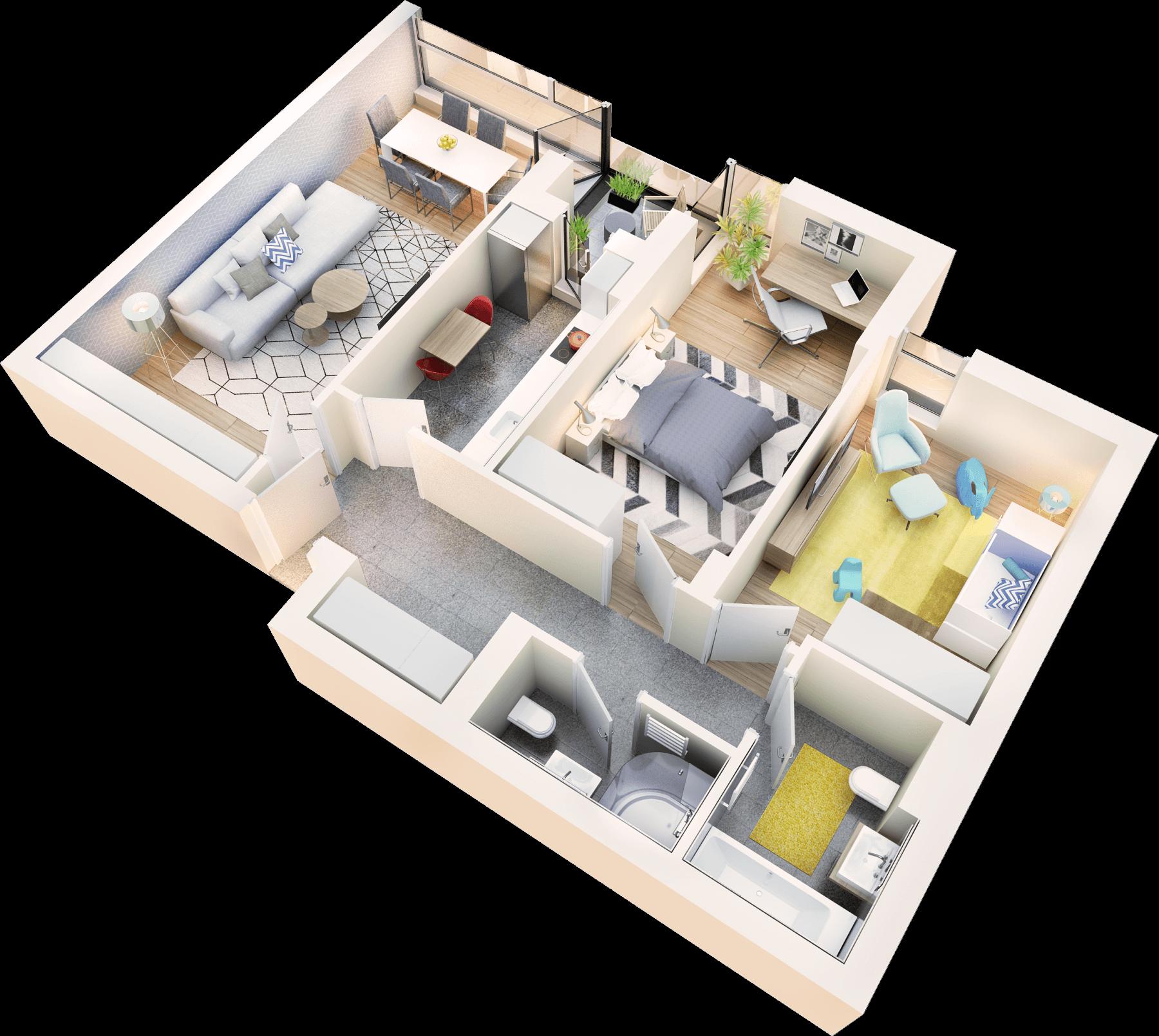 Apartament 3 camere tip 3B.2 logie | etaj 1-3 | Cladire 1