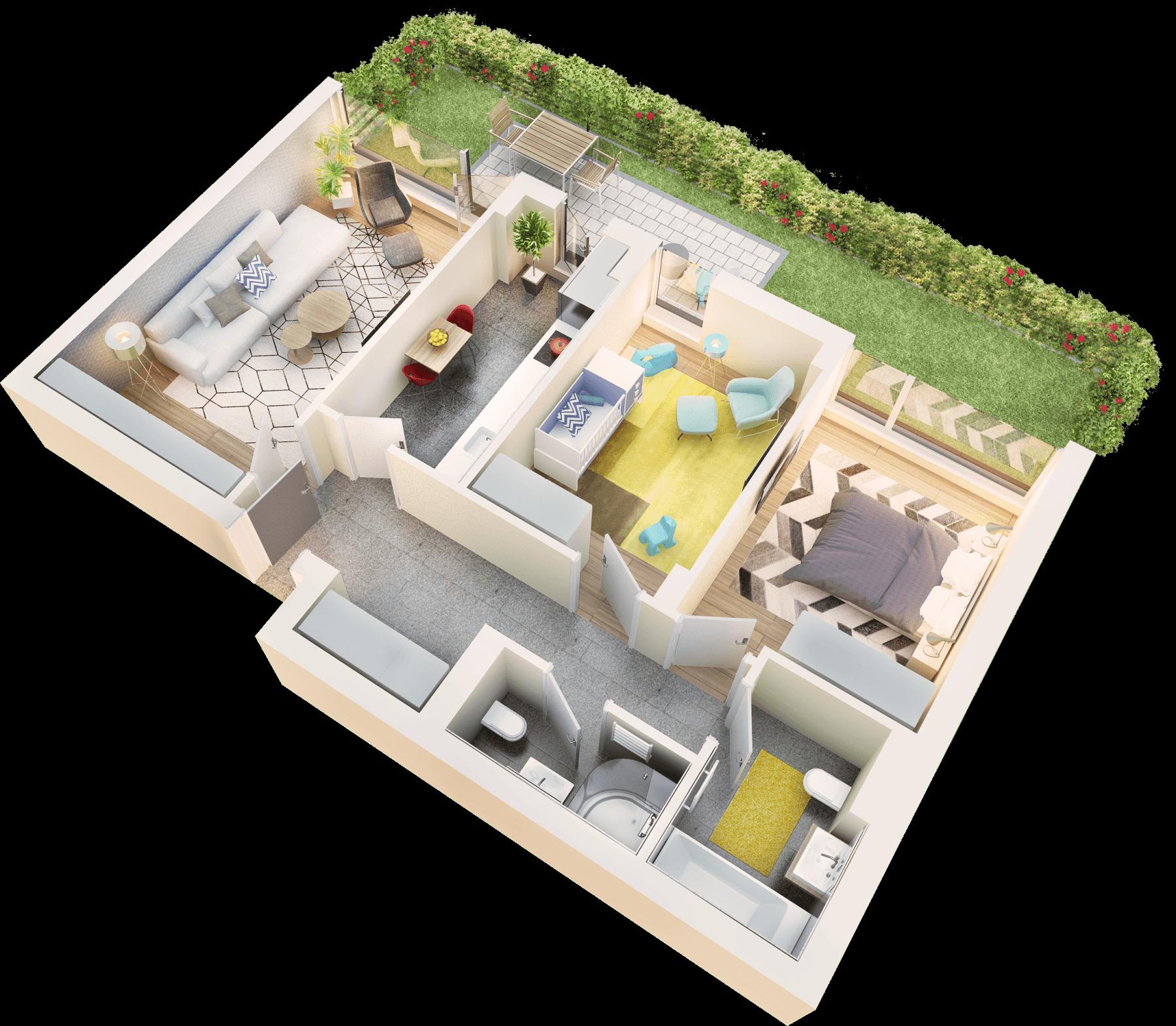 Apartament 3 camere tip 3B.1 terasa si gradina | parter | Cladire 1