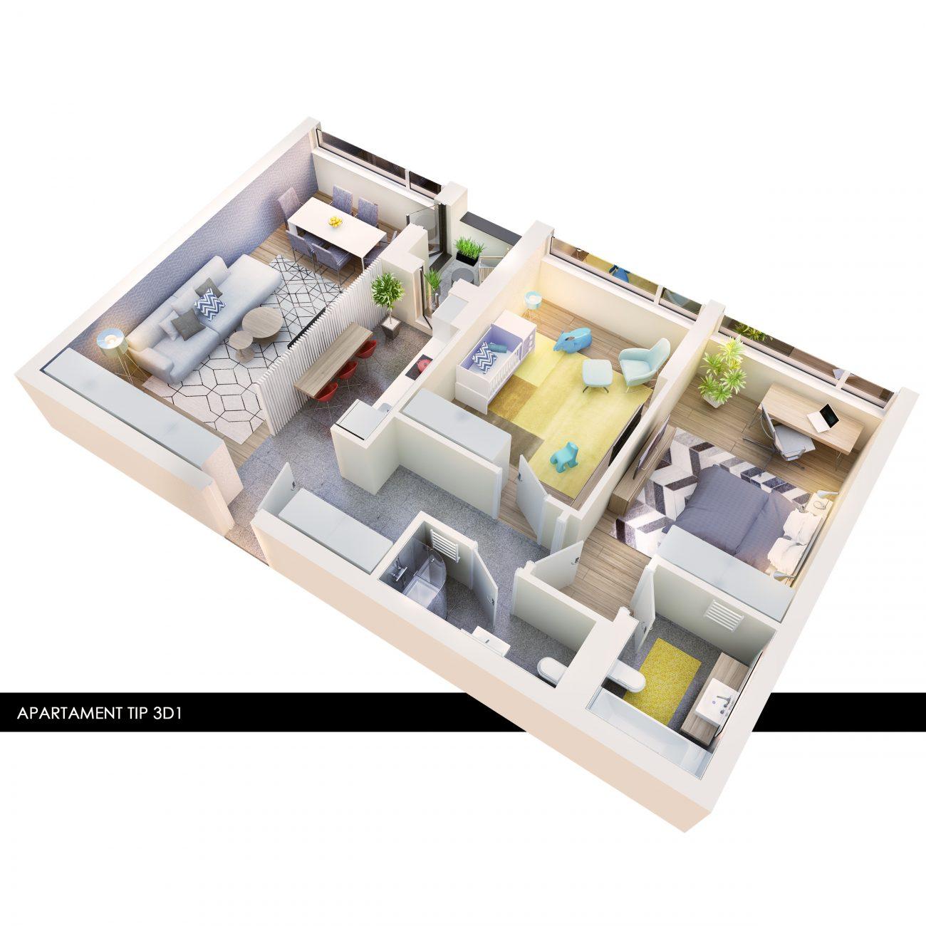 Atria Urban Resort amenajare 3 camere model 3D1