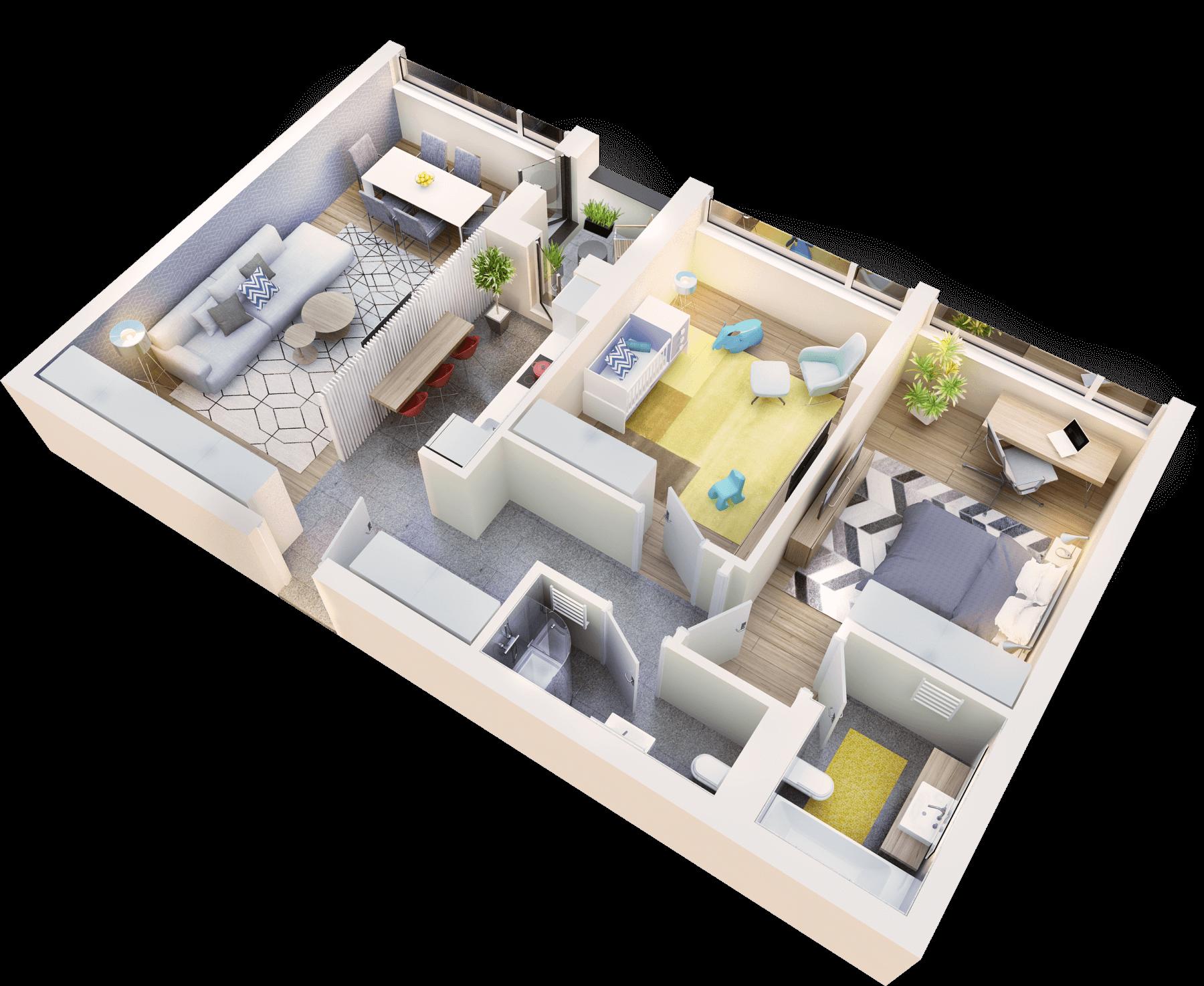 Apartament 3 camere tip 3D.1 logie | etaj 1-3 | Cladire 1