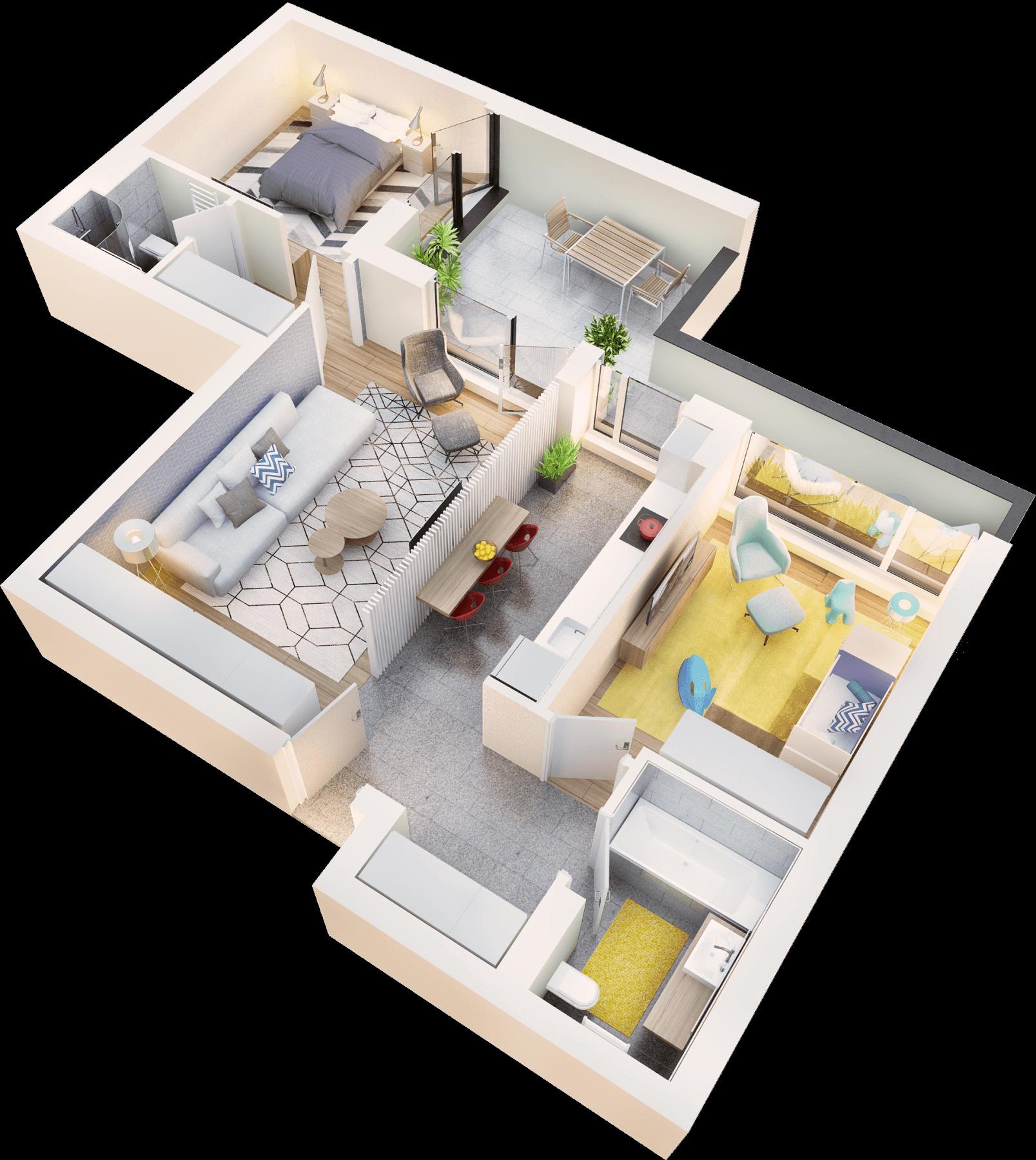 Apartament 3 camere tip 3E balcon | etaj 4 | Cladire 1 | Faza 1