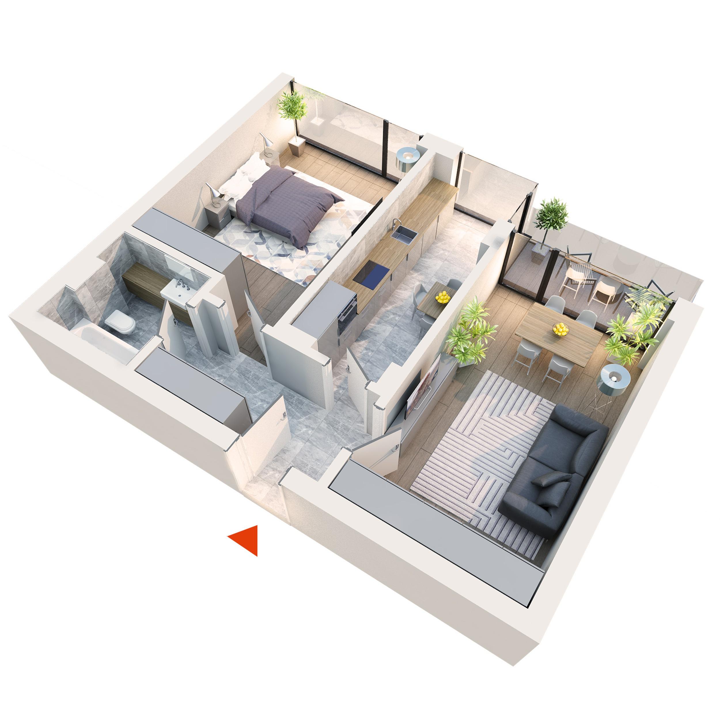 Apartament 2 camere tip 2B1 balcon | Etaj 1-3 | Corp C1, C2, C5, C6 | Faza 2