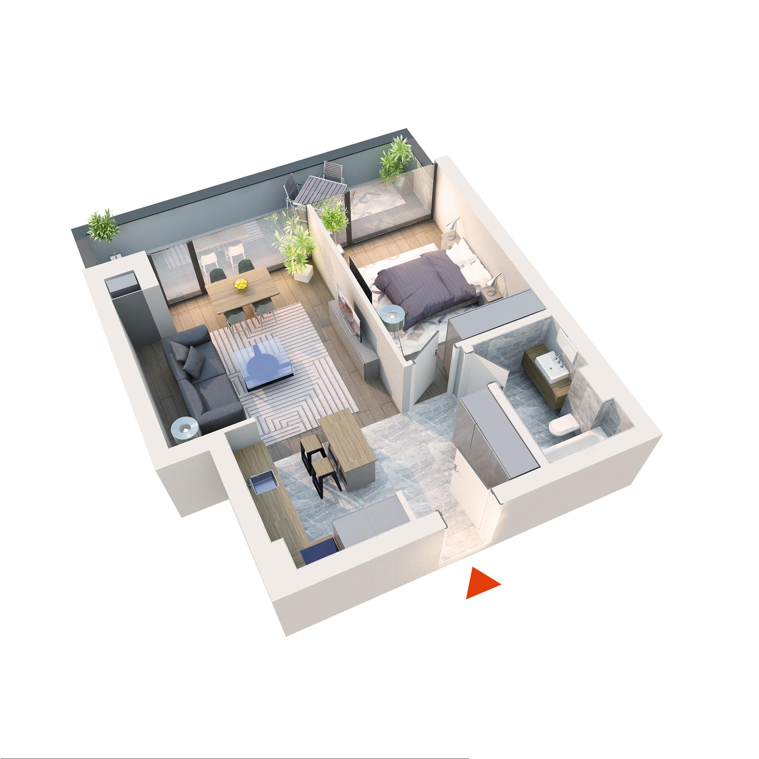 Apartament 2 camere tip 2E1 Balcon | Etaj 6 | Corp C7, C8 | Faza 2