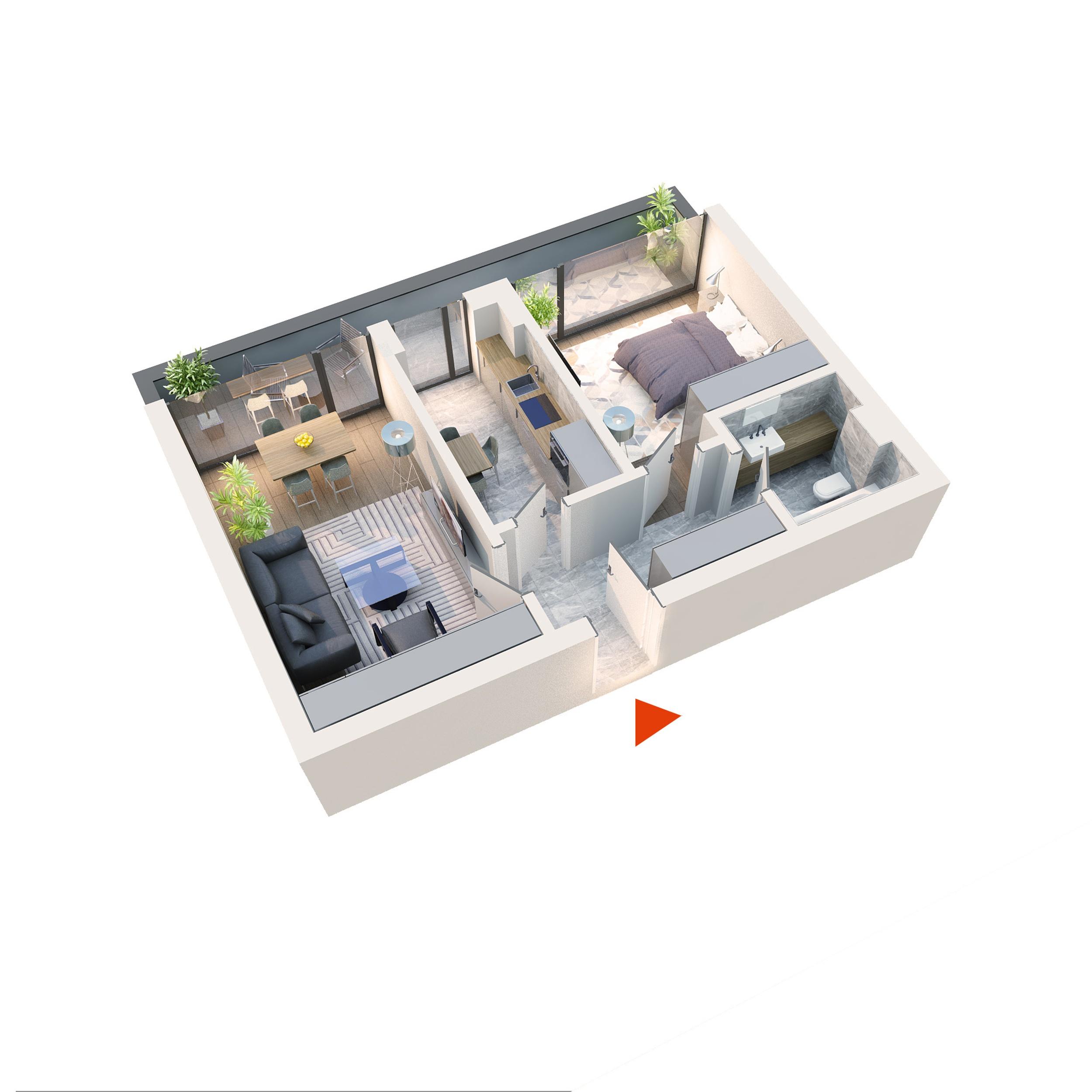 Apartament 2 camere tip 2C1 Balcon | Etaj 4 | Corp C1-C6 | Faza 2