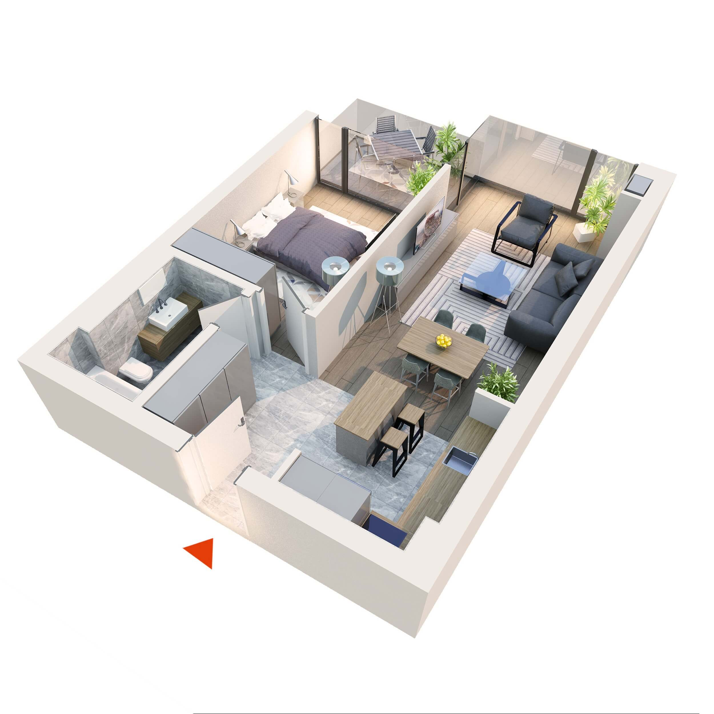Apartament 2 camere tip 2D1 B12 Logie | Etaj 1-5 | Corp C8 | Faza 2