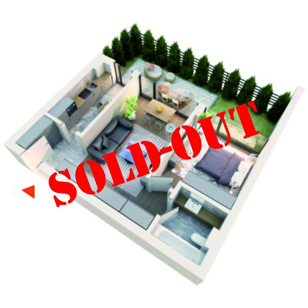 Apartament 2 camere tip 2A3 gradina | Parter | Corp C3, C4 | Faza 2