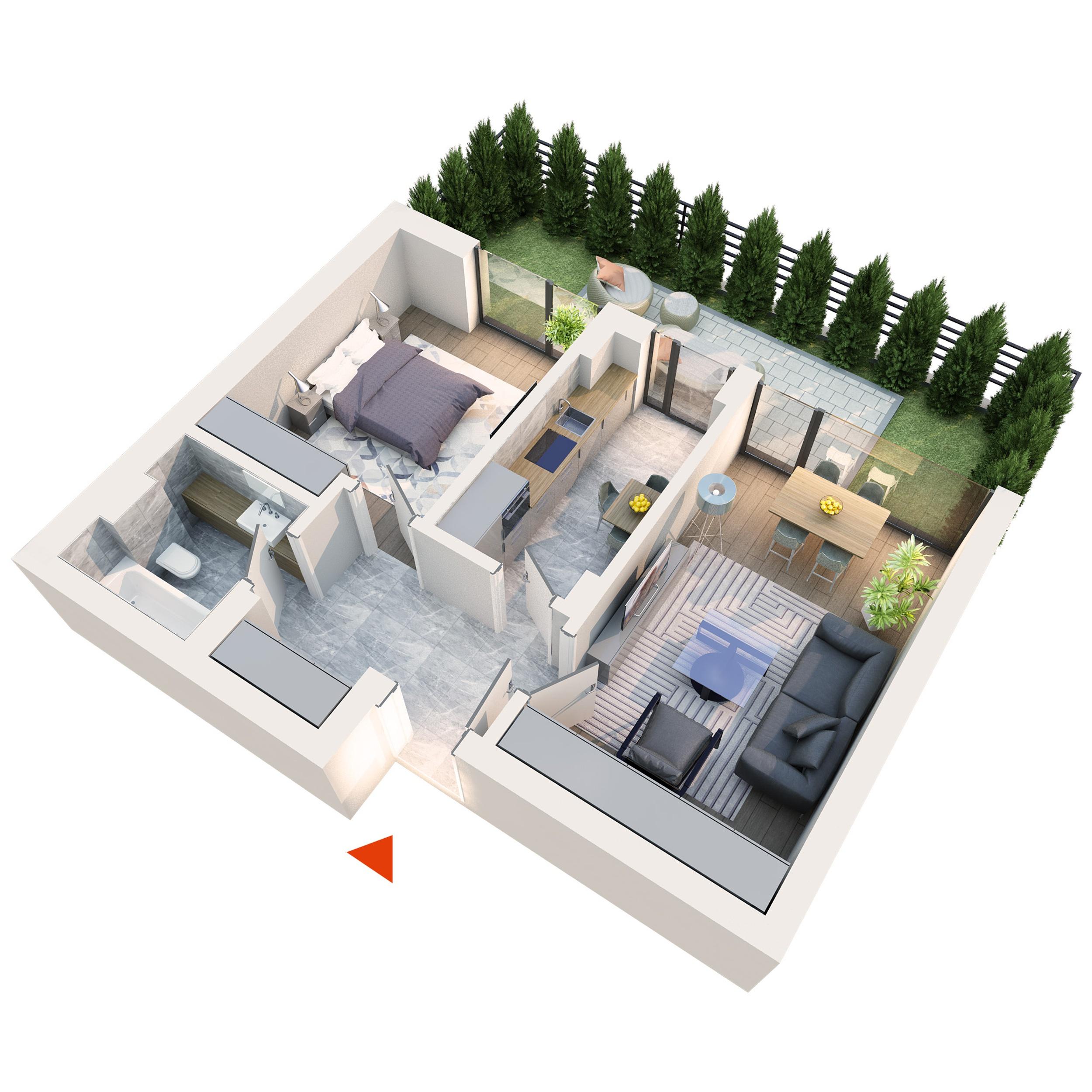 Apartament 2 camere tip 2A2 gradina | Parter | Corp C1, C6 | Faza 2