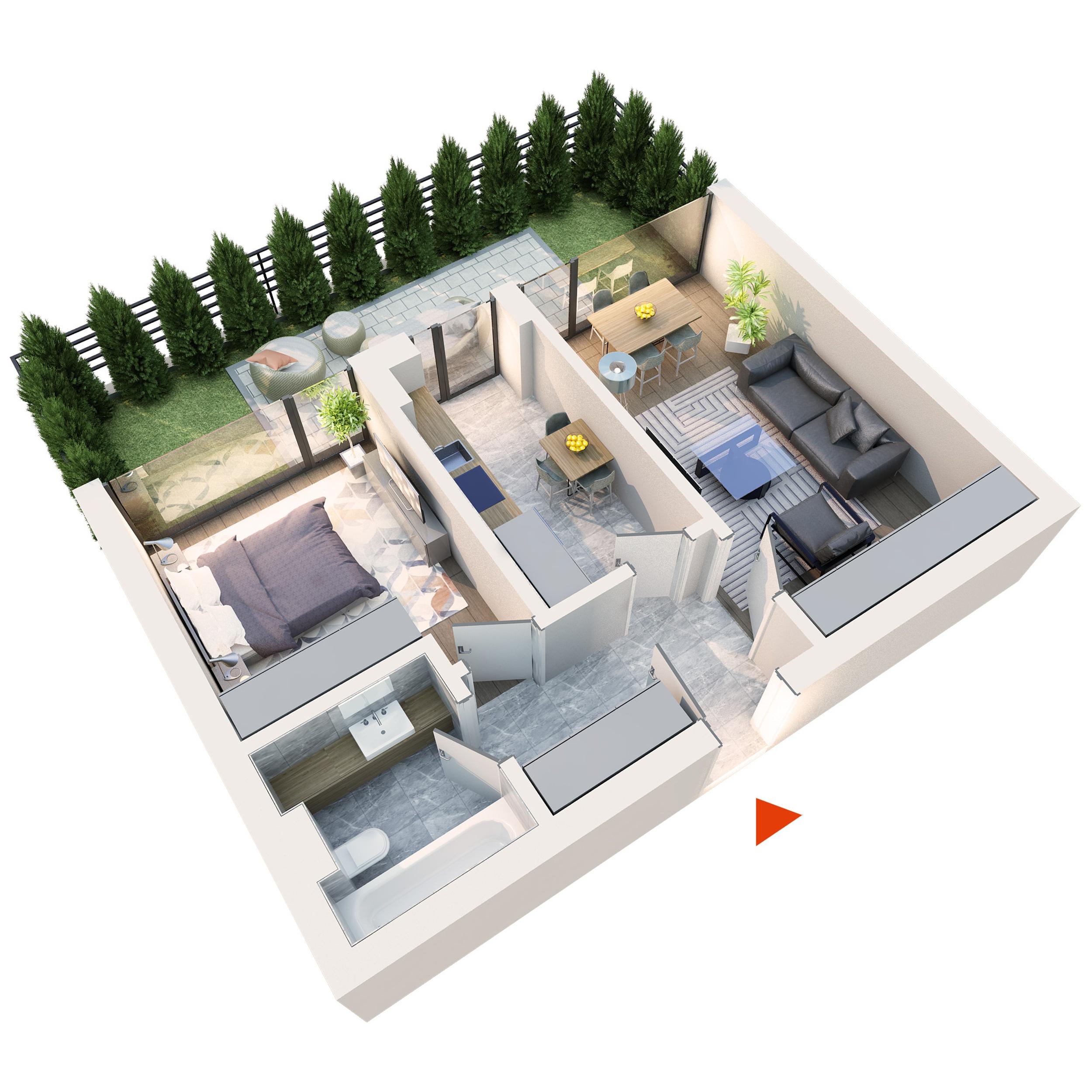 Apartament 2 camere tip 2A1′ gradina | Parter | Corp C3 și C4 | Faza 2