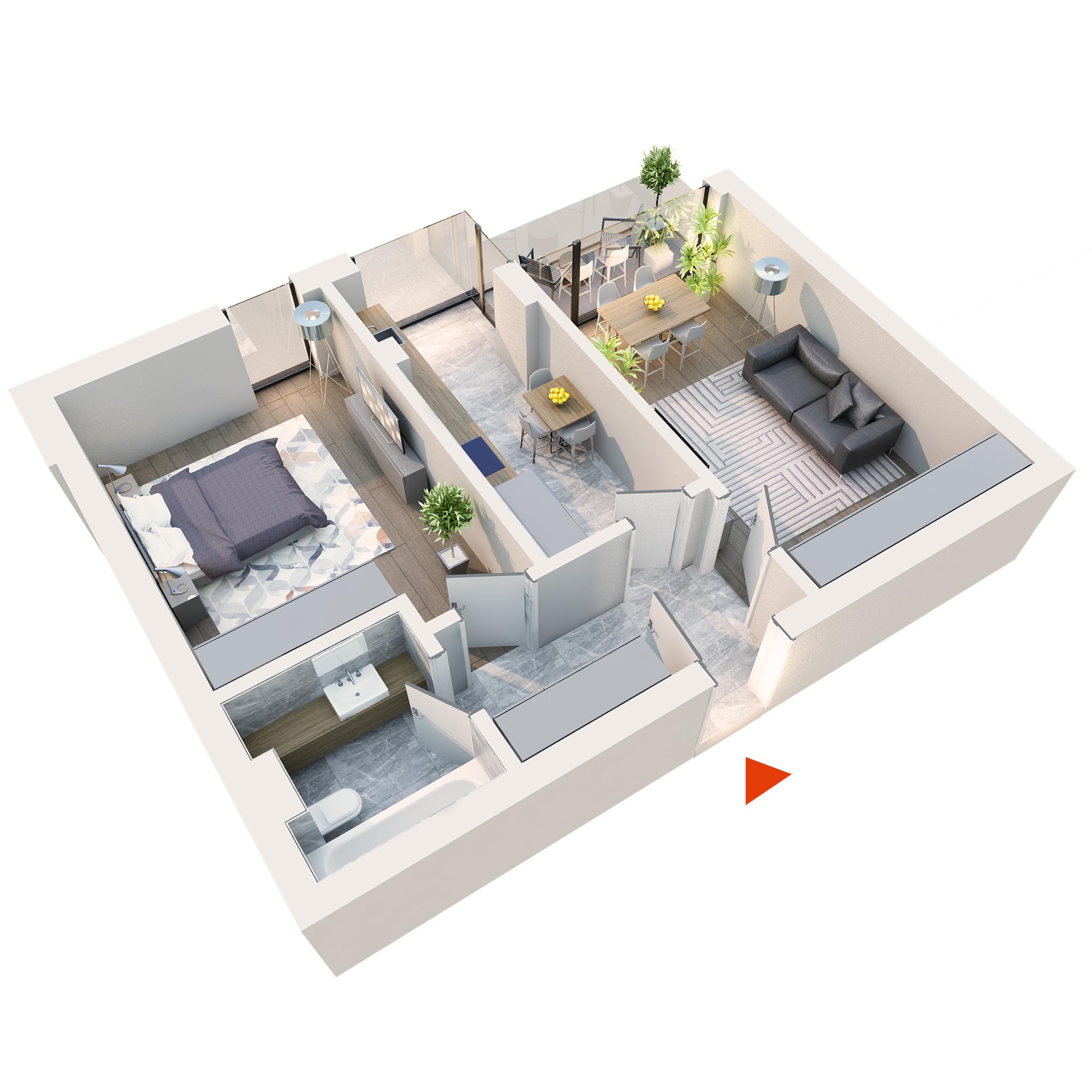 Apartament 2 camere tip 2B1′ balcon | Etaj 1-3 | Corp C3, C4 | Faza 2