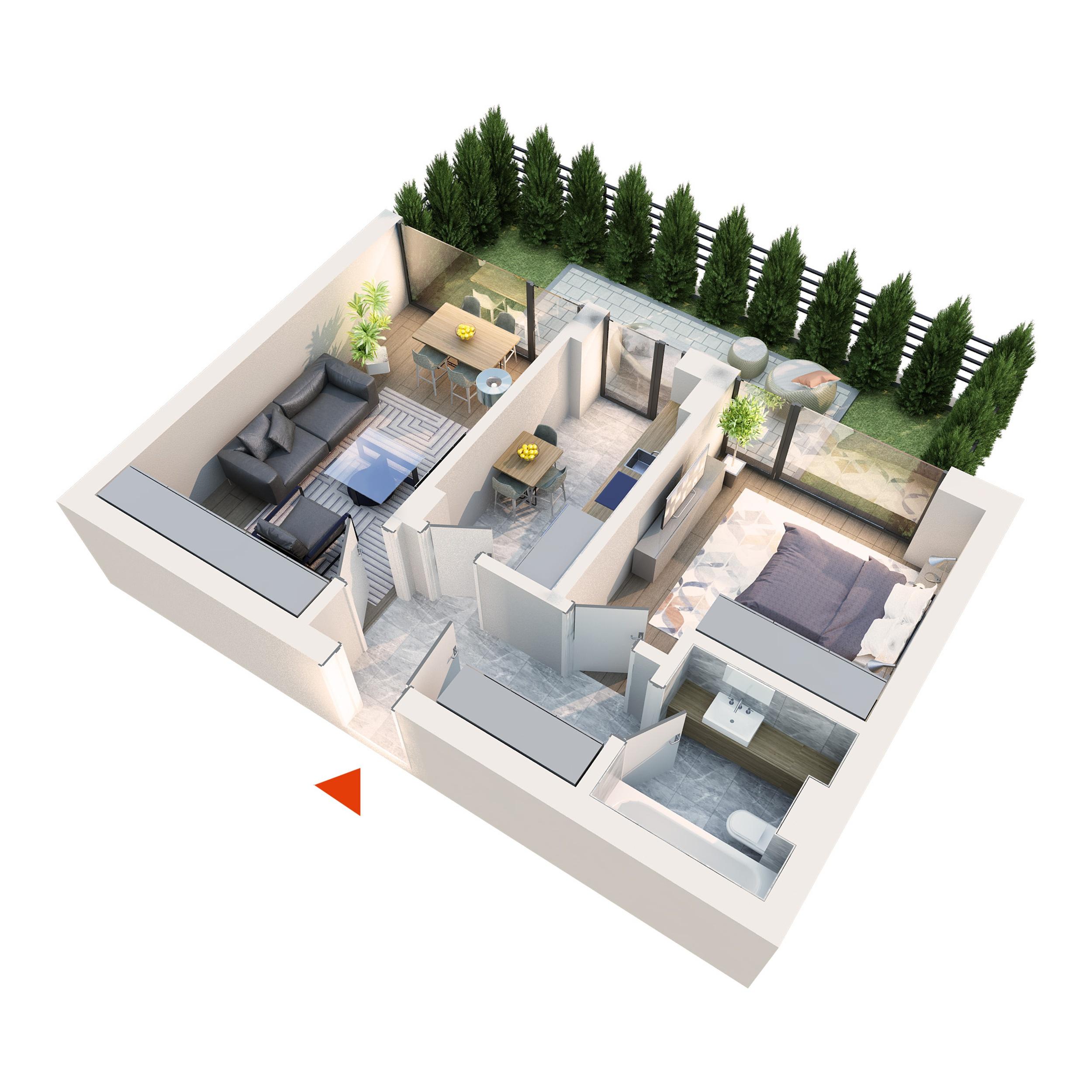 Apartament 2 camere tip 2A1 gradina | Parter | Corp C1 – C6 | Faza 2